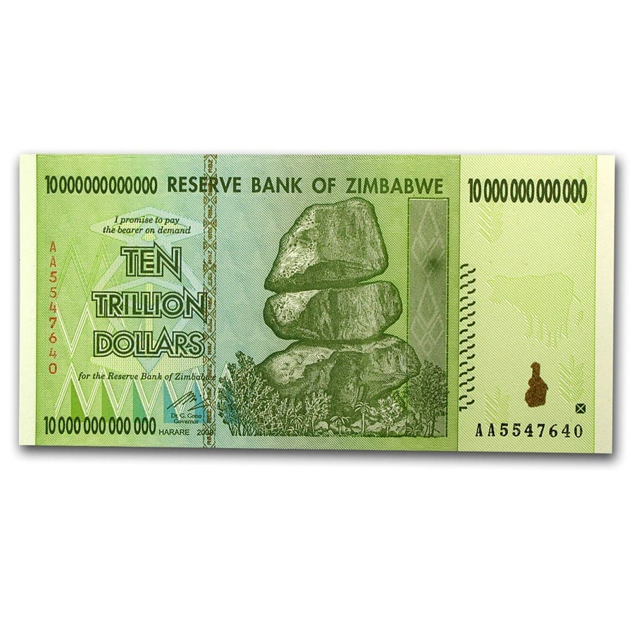 2008 Zimbabwe 10 Trillion Dollars Two Towers Unc