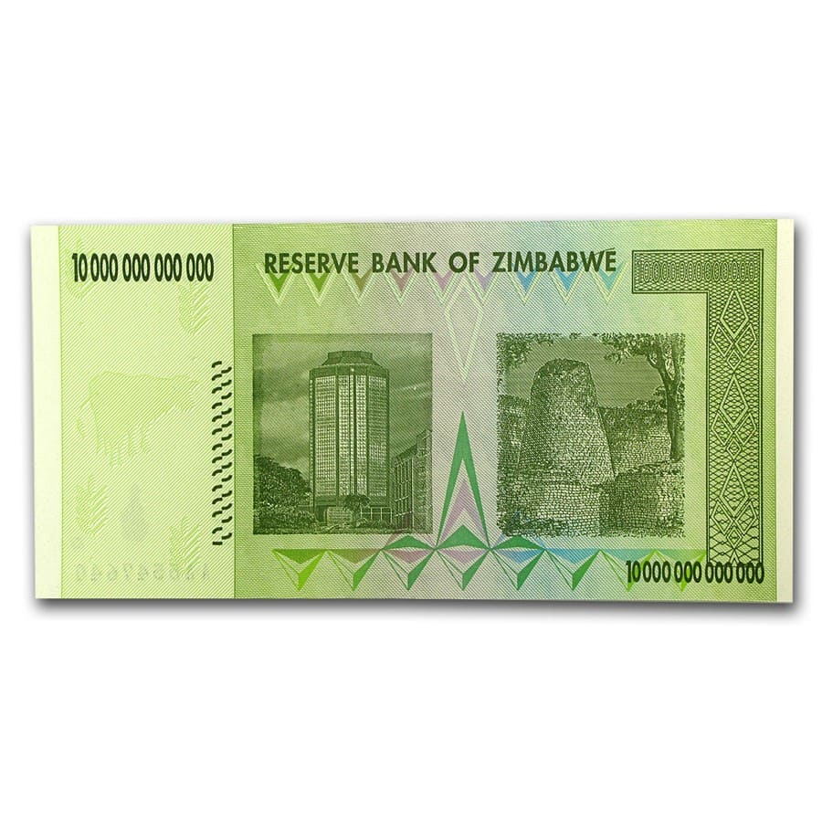 Zimbabwe 2008 10 Trillion Dollars Two Towers CU