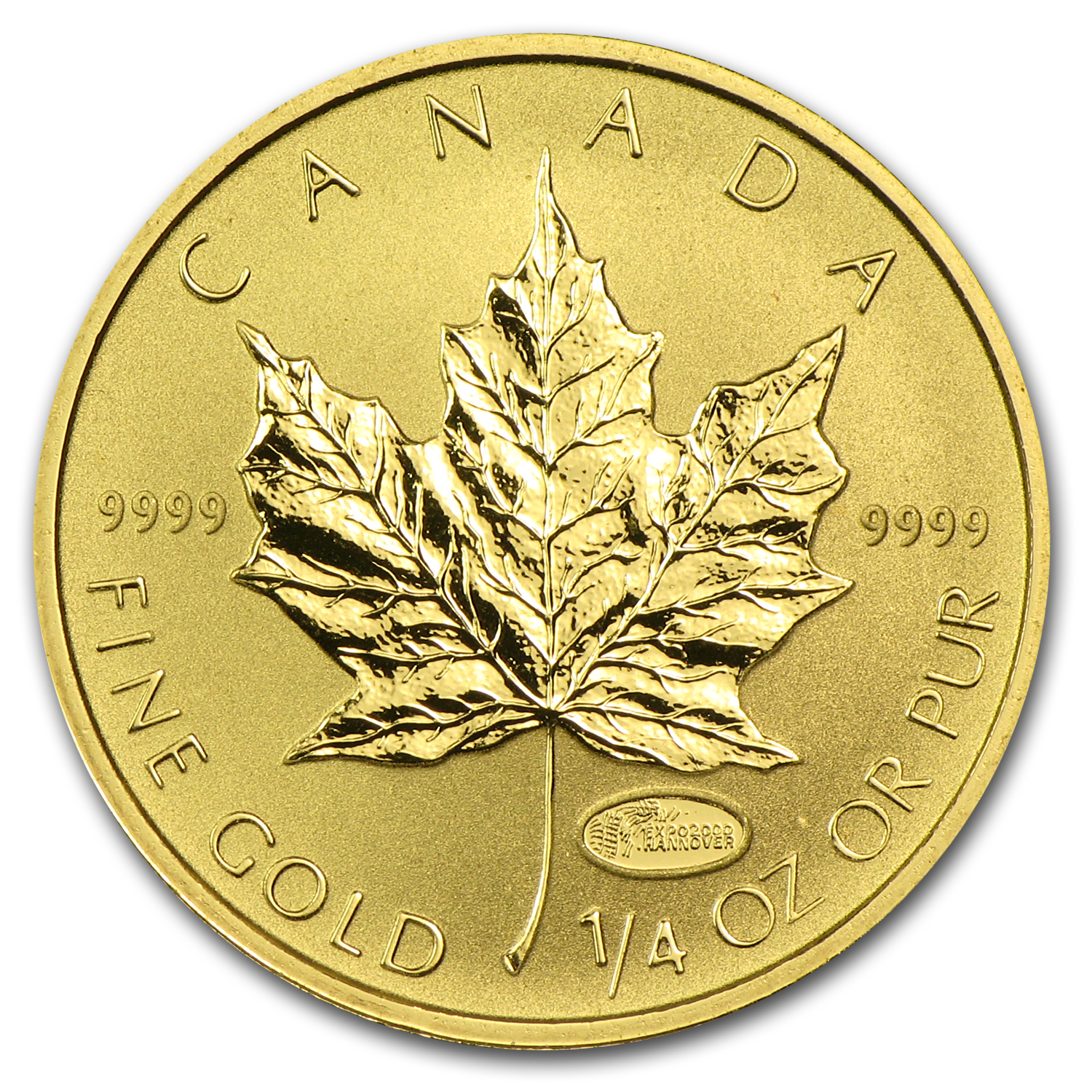 2000 Canada 1/4 oz Gold Maple Leaf BU (Expo Hannover Privy)
