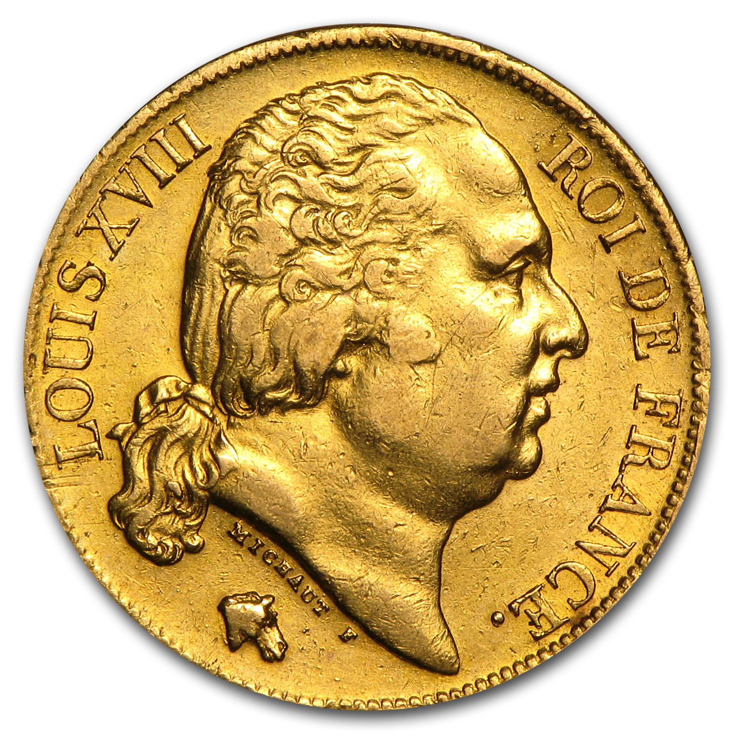 1816-1824 France Gold 20 Francs Louis XVIII XF