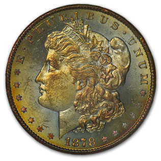1878-CC Morgan Dollar - MS-63 NGC Green and Gold Toning