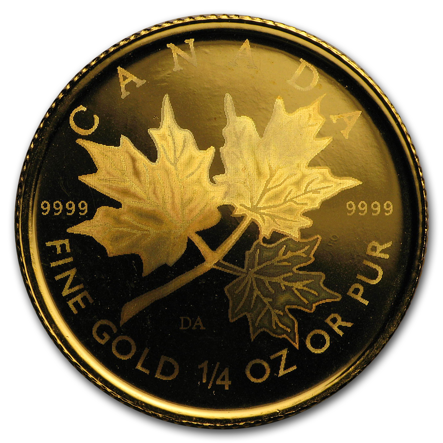 2001 1/4 oz Hologram Gold Canadian Maple Leaf