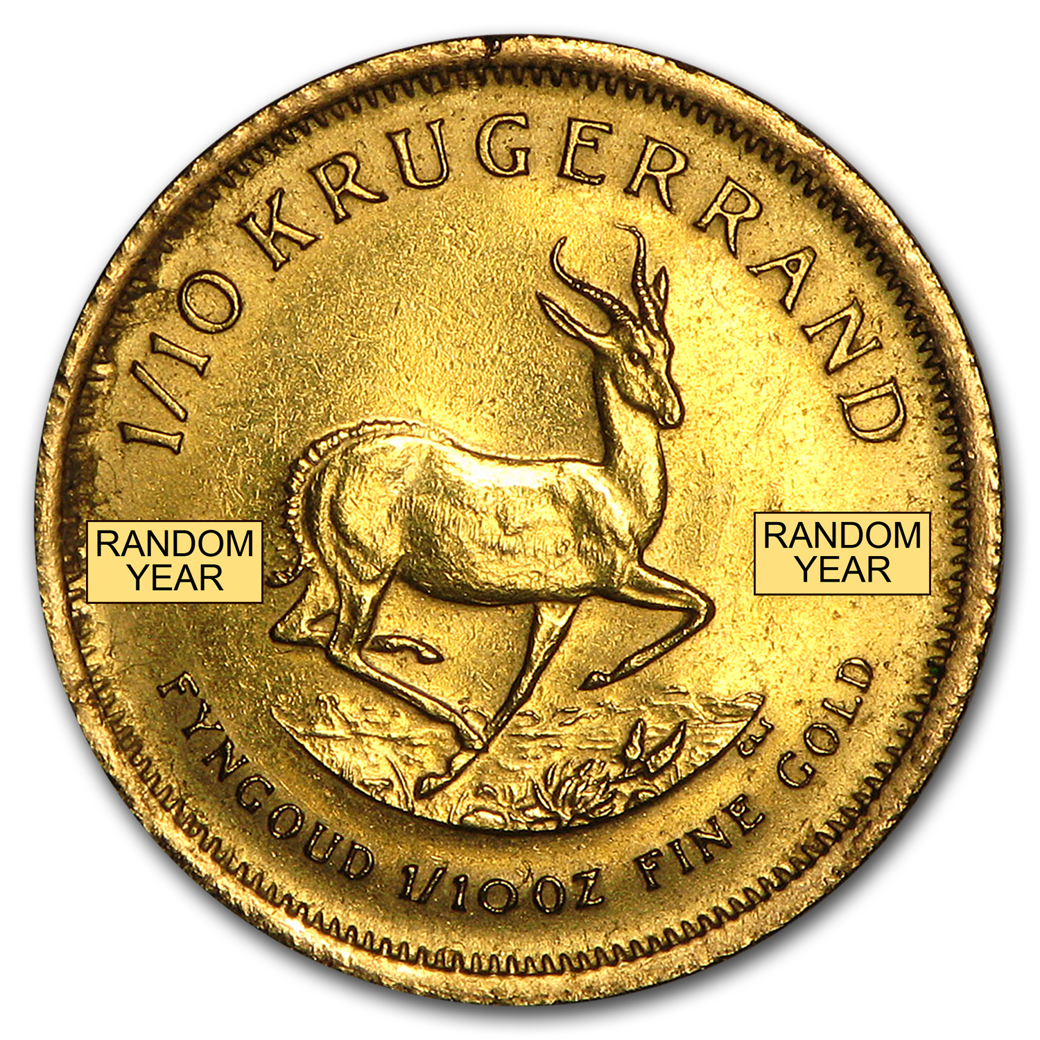 1/10 oz Gold South African Krugerrand (Abrasions)