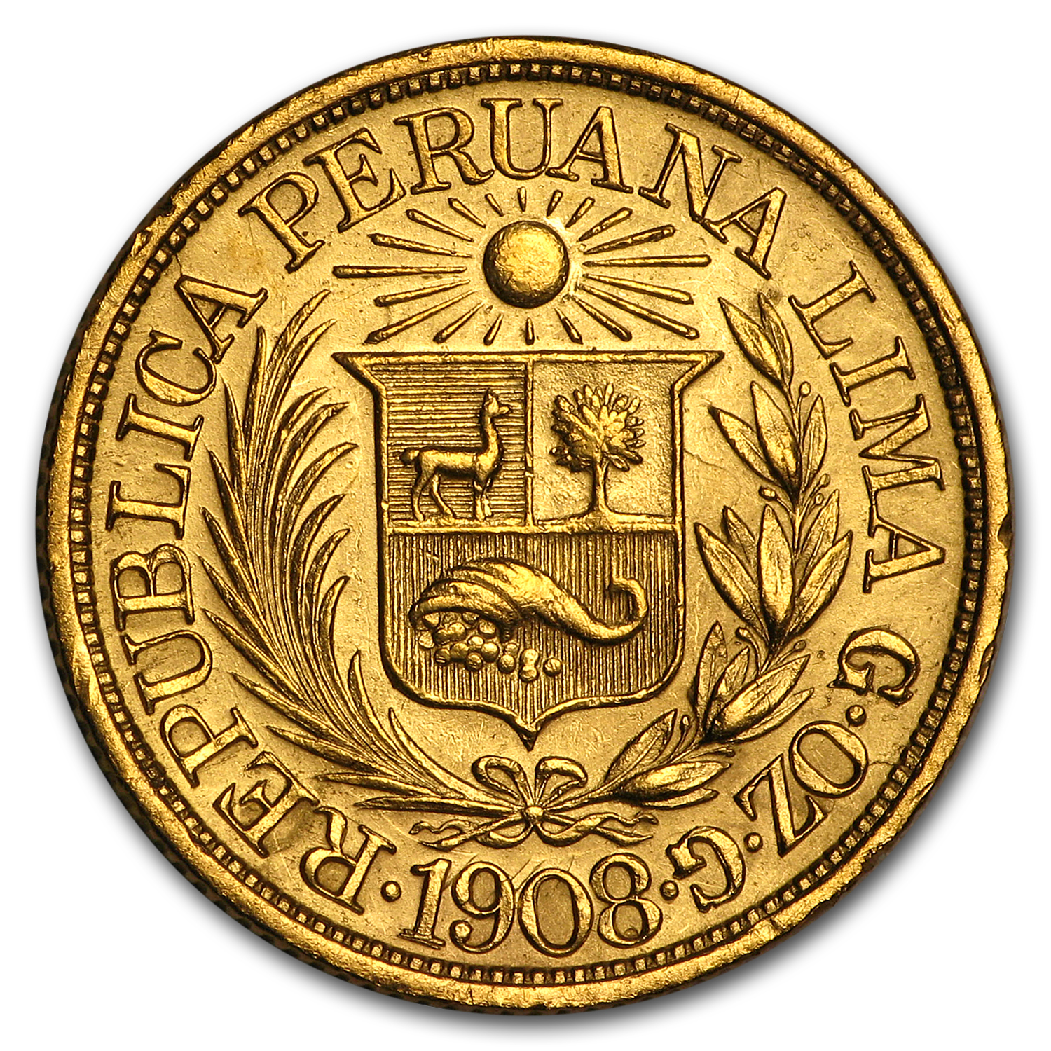 Peru 1/2 Libra Gold Average Circulated AGW .1177