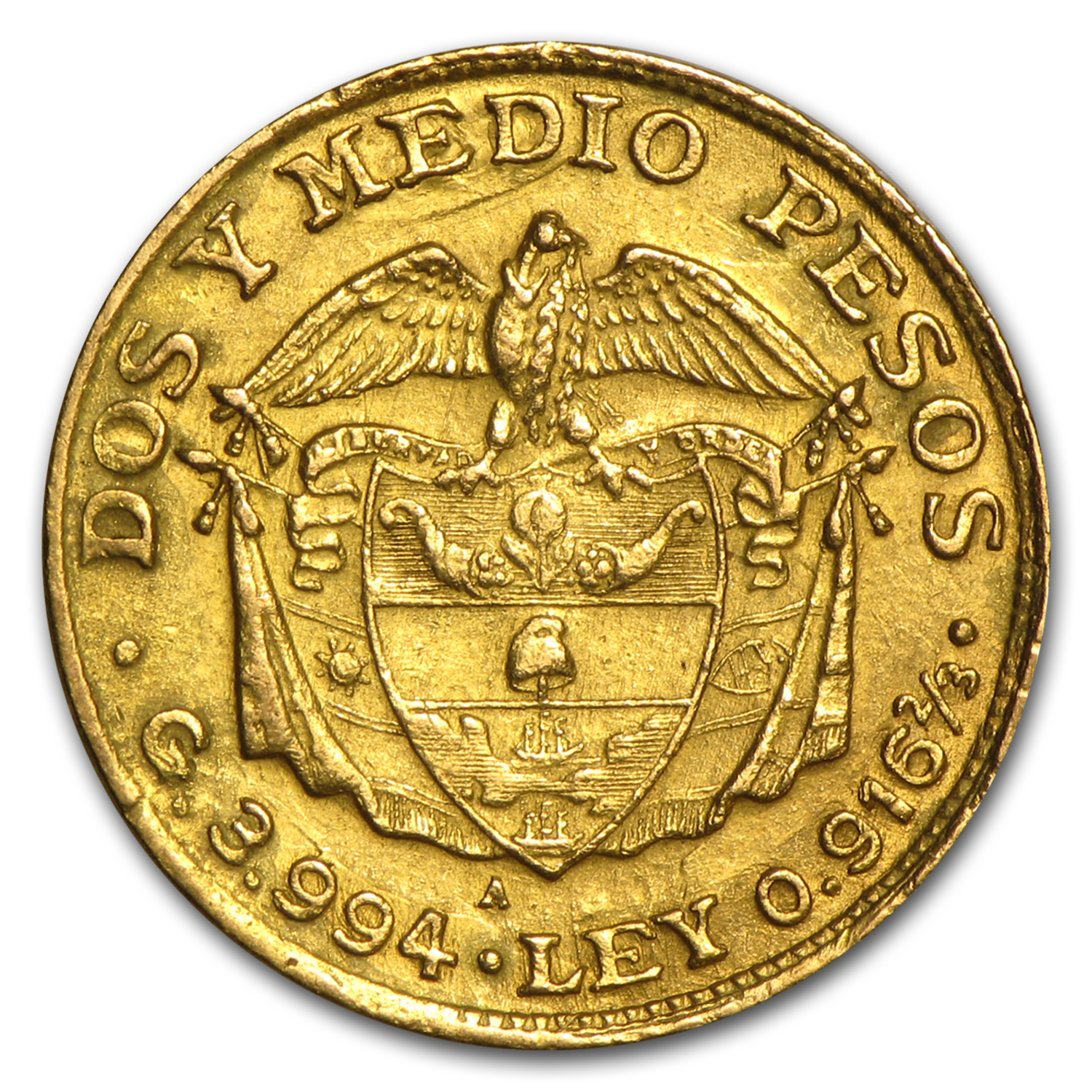 1913-1928 Colombia Gold 2 1/2 Pesos XF
