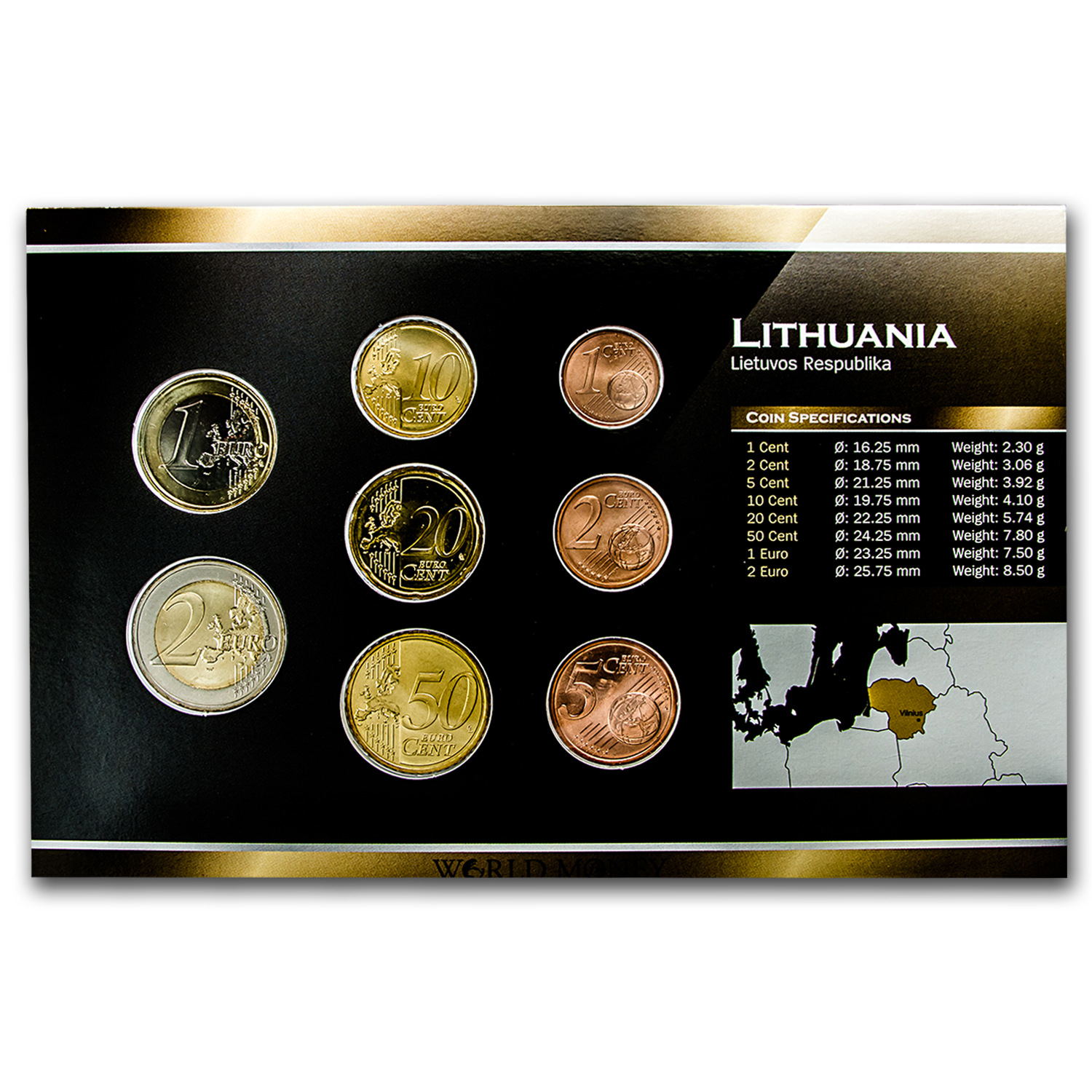 2015 Lithuania 1 Eurocent-2 Euros 8-Coin Set BU
