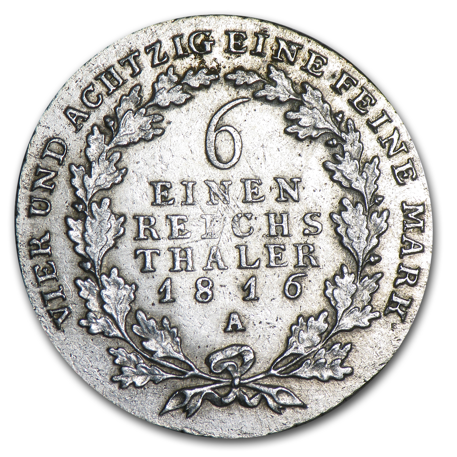 1816-A Prussia Silver 1/6 Thaler XF