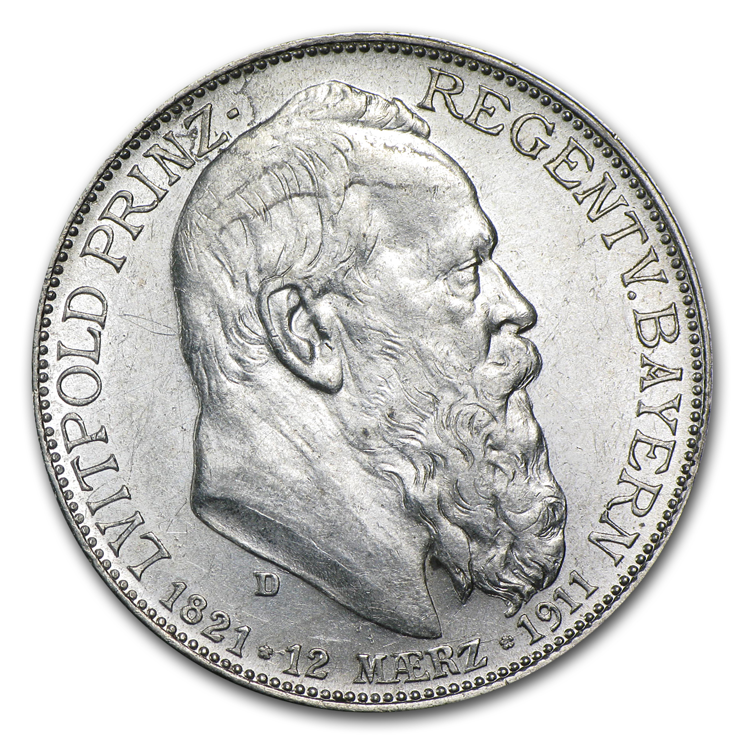 1911 Bavaria Silver 2 Mark AU