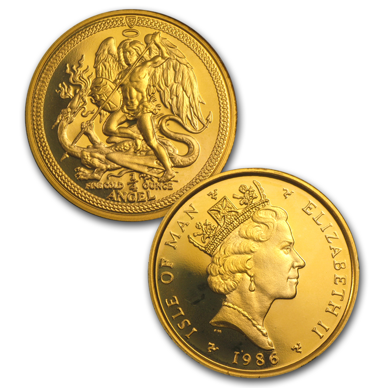 1986 Isle of Man Angel 5-Coin Gold Proof Set