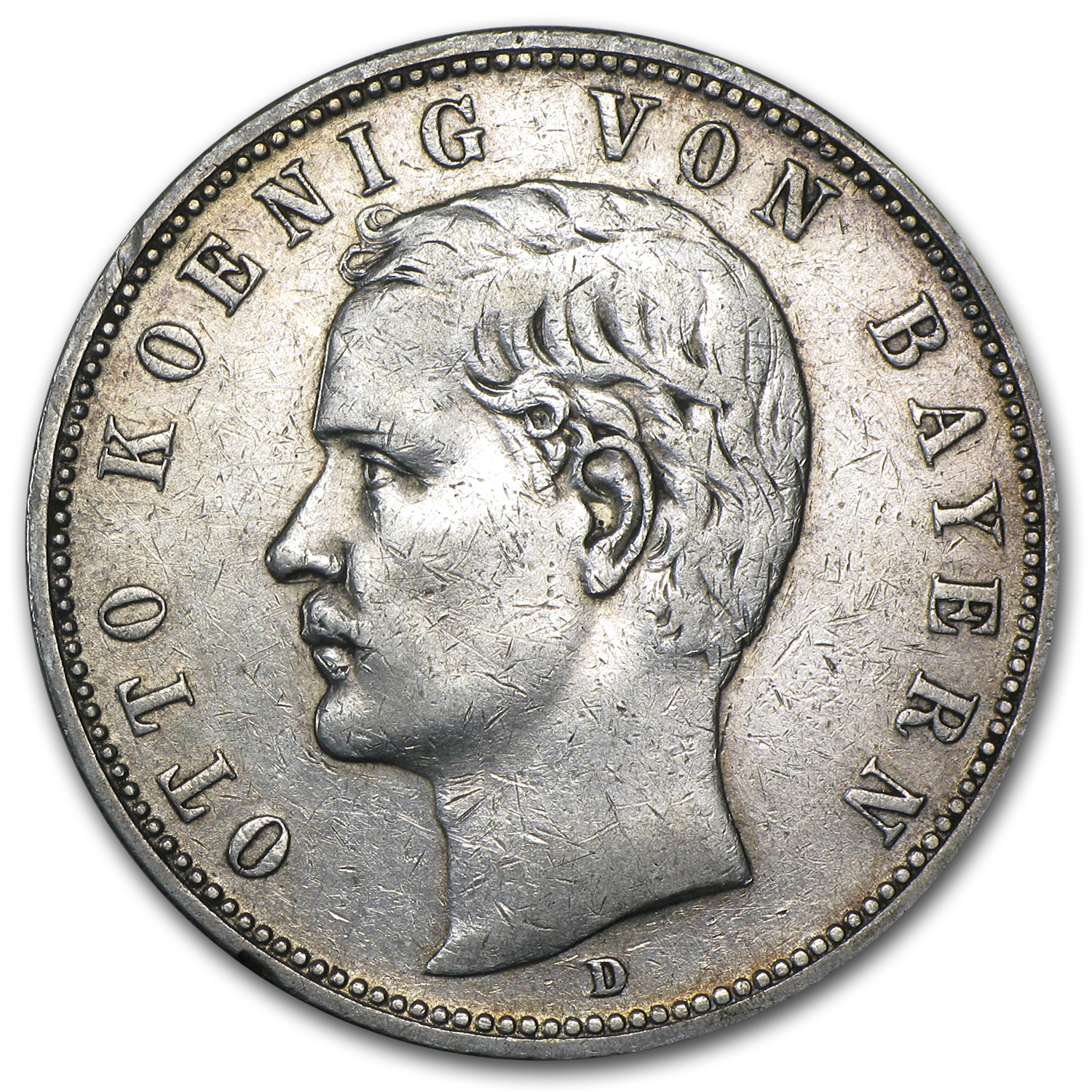 1904 Bavaria Silver 5 Mark VF/EF