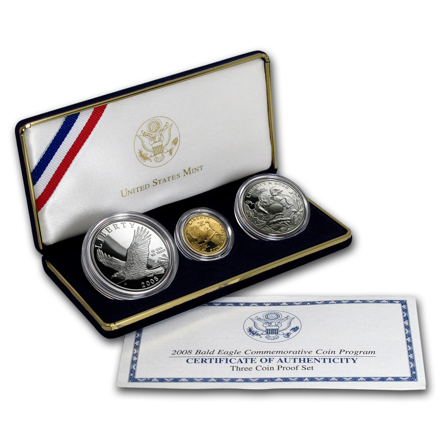 2008 3-Coin Commem Bald Eagle Proof Set (w/Box & COA)