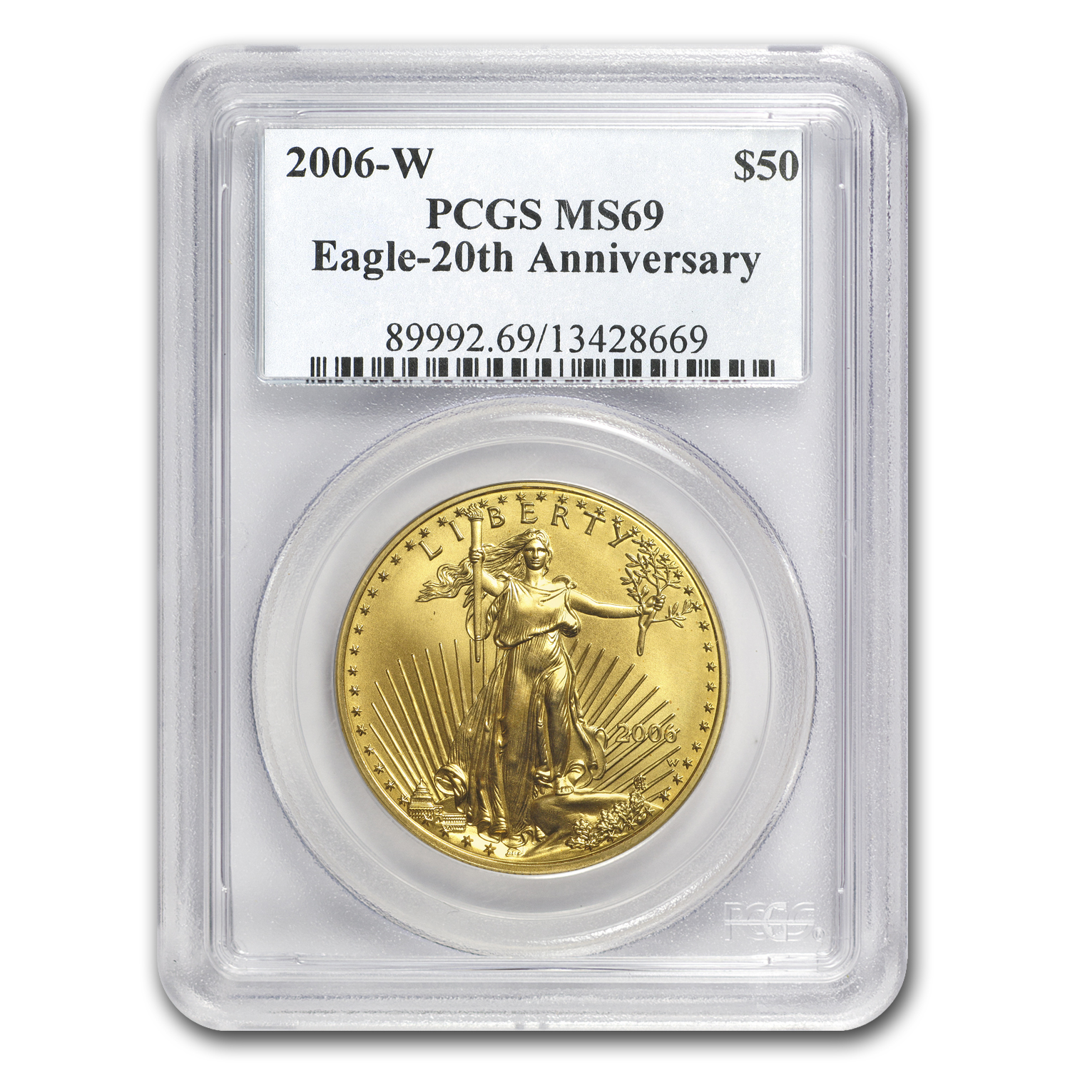 2006-W 1 oz Burnished Gold Eagle MS-69 PCGS (20th Anniversary)