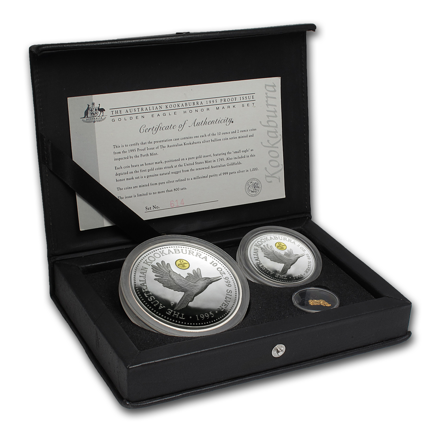 1995 2-Coin Silver Kookaburra Proof Set (Golden Eagle Honor)