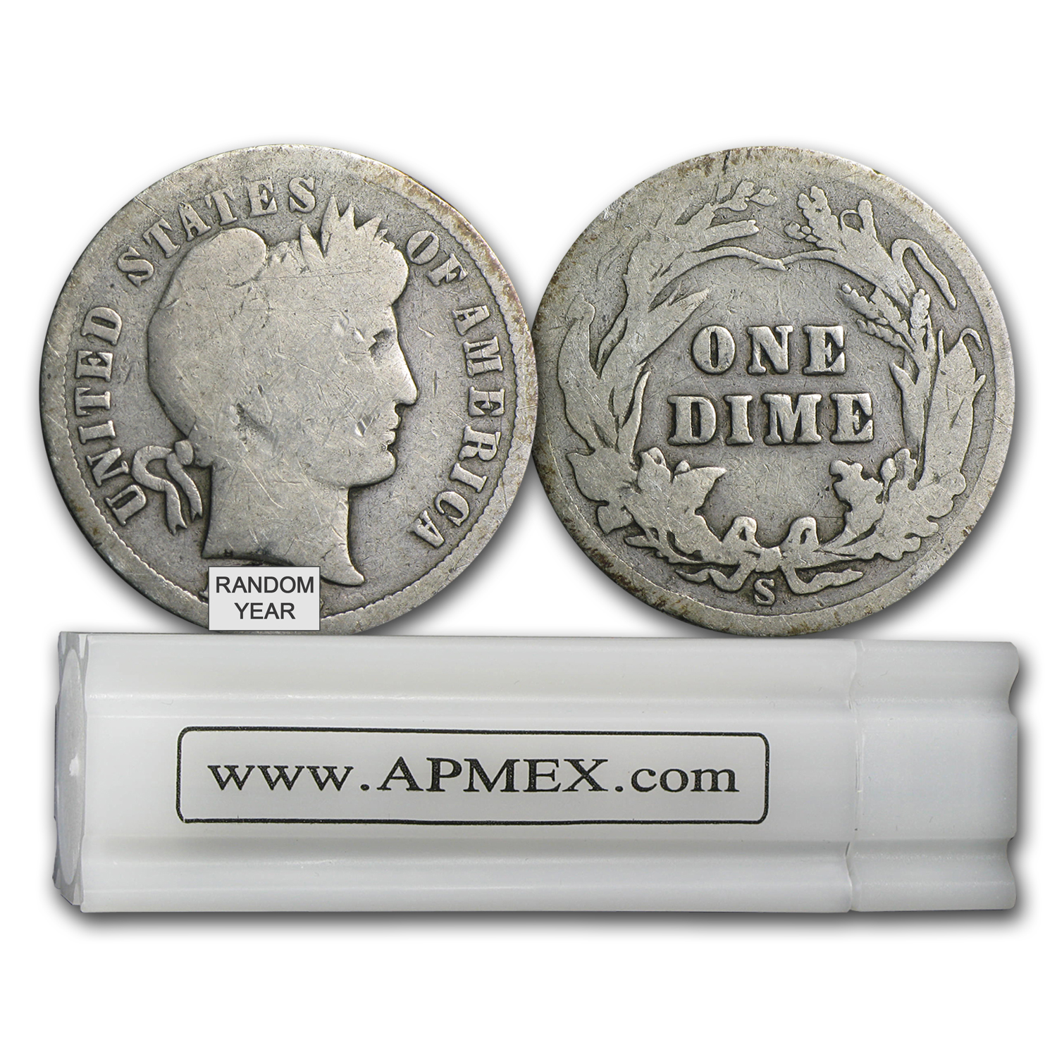 90% Silver Barber Dimes $5 50-Coin Roll Average Circulated