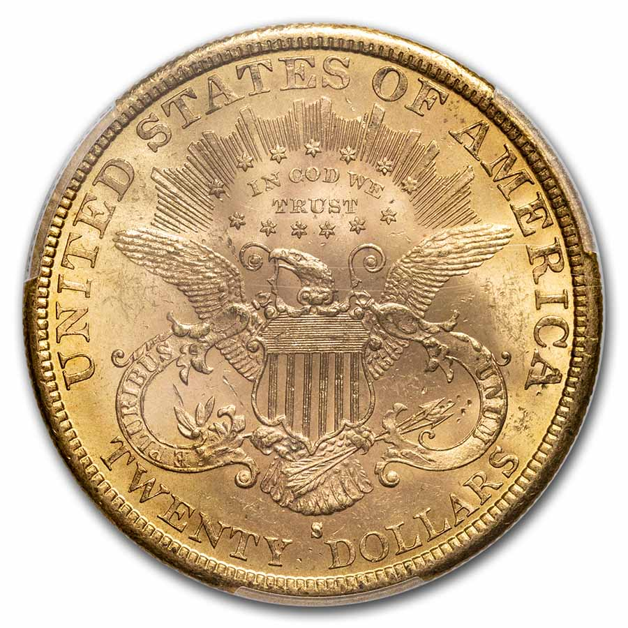 1884-S $20 Gold Liberty Double Eagle - MS-61 PCGS