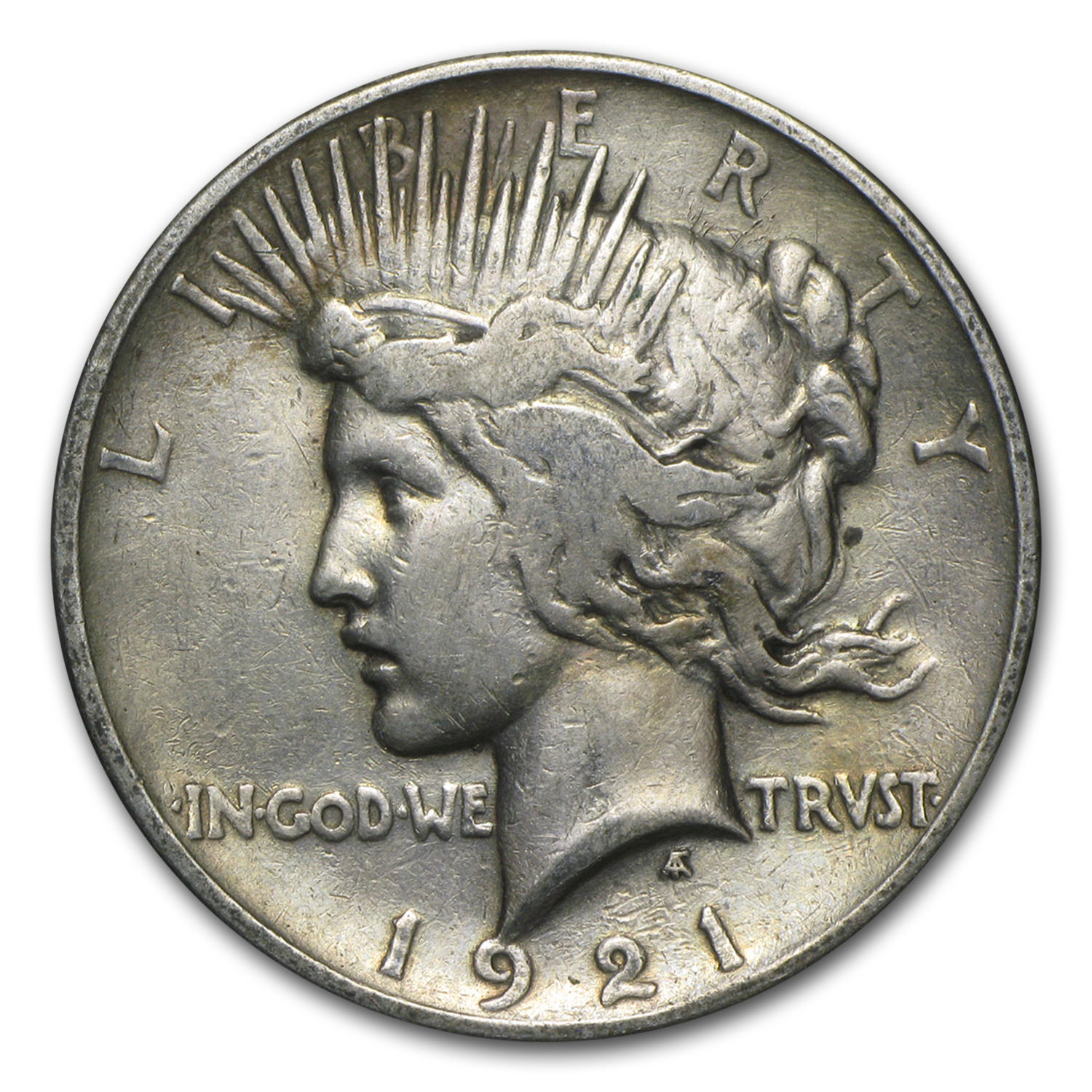 1921 Peace Dollar VF Details (High Relief, Cleaned)