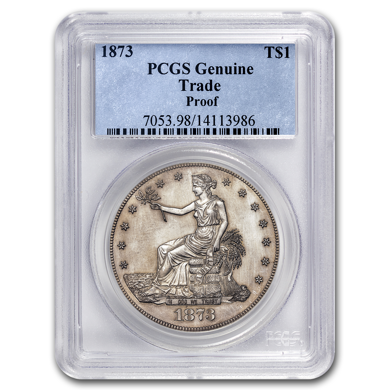 1873 Trade Dollar Proof-60 Details PCGS (Hairlined)