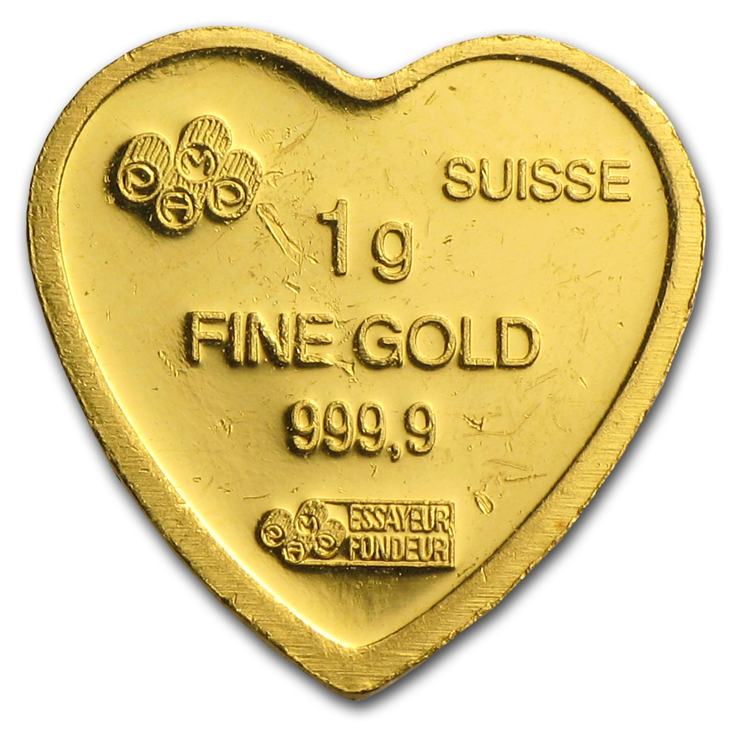 1 gram Gold Bar - Pamp Suisse (Heart Design) (Scruffy)