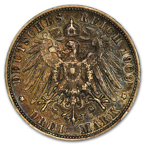 Wurttemberg 1909-F Silver 3 Mark Extra Fine Details