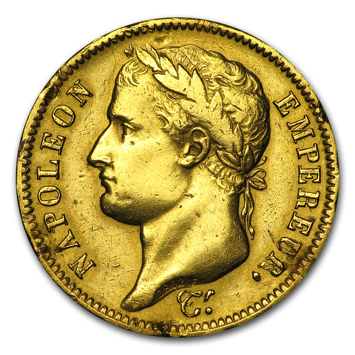 France 1807-1813 Gold 40 Francs of Napoleon I (Scruffy)