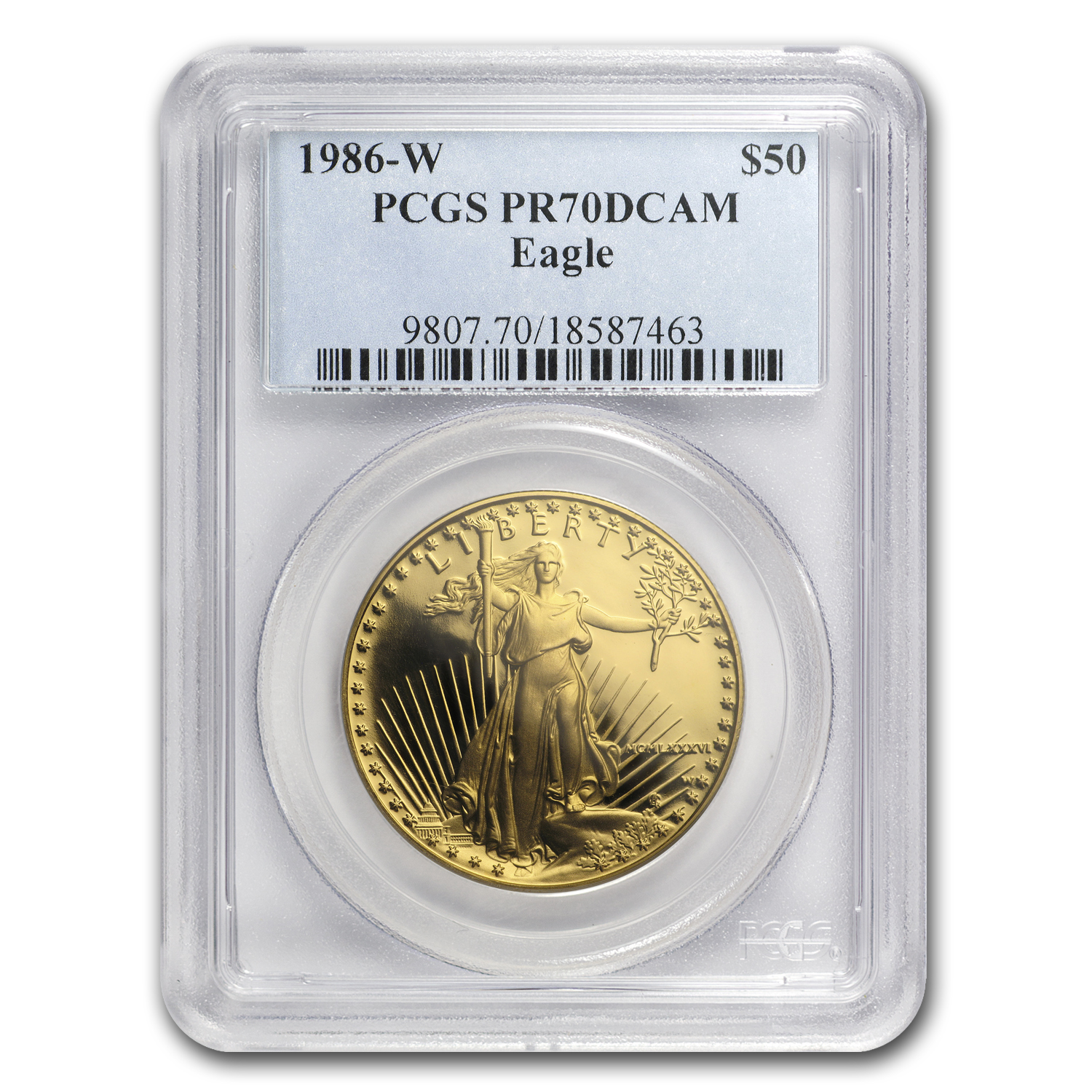 1986-W 1 oz Prf Gold American Eagle PR-70 DCAM PCGS Registry Set