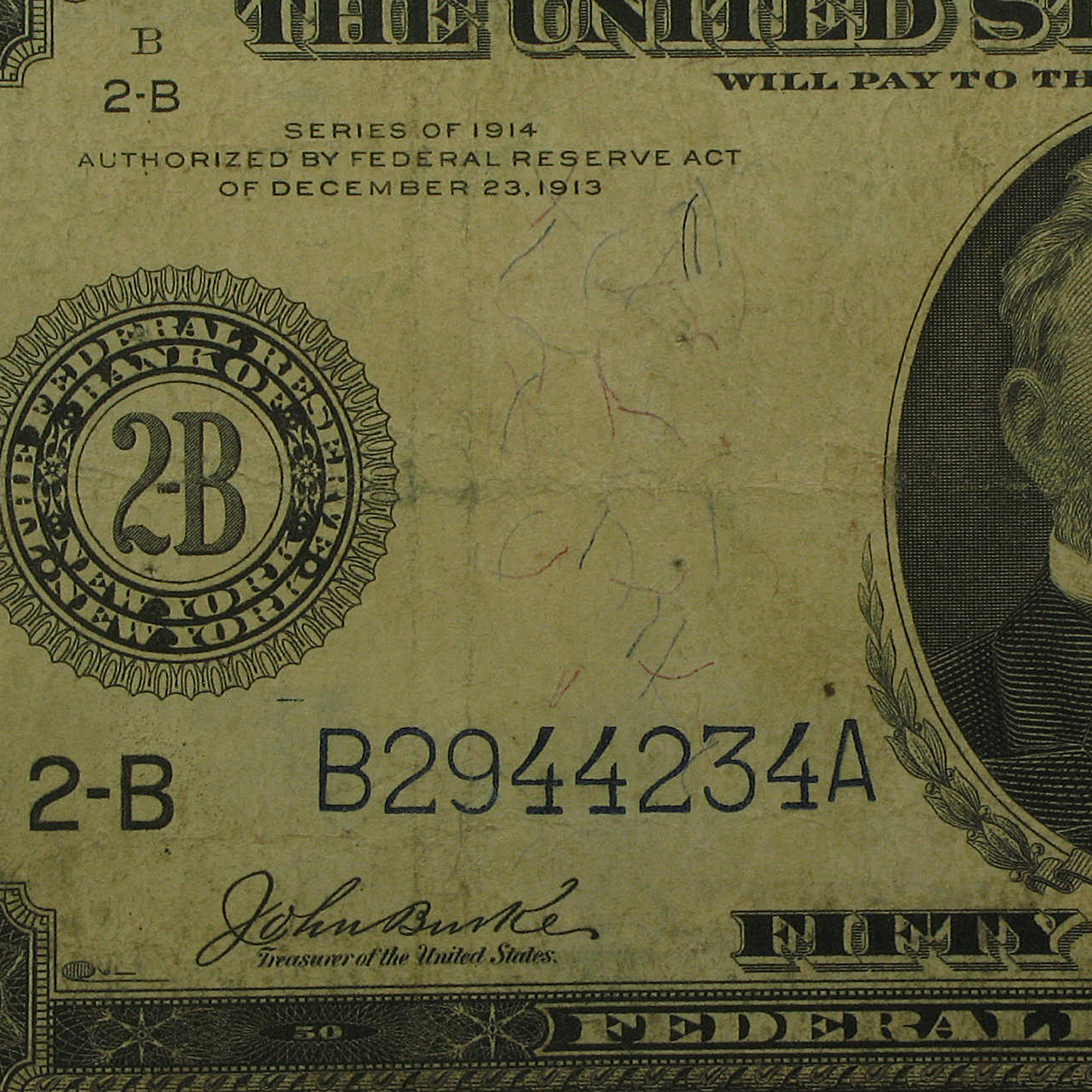 1914 (B-New York) $50 FRN Fine