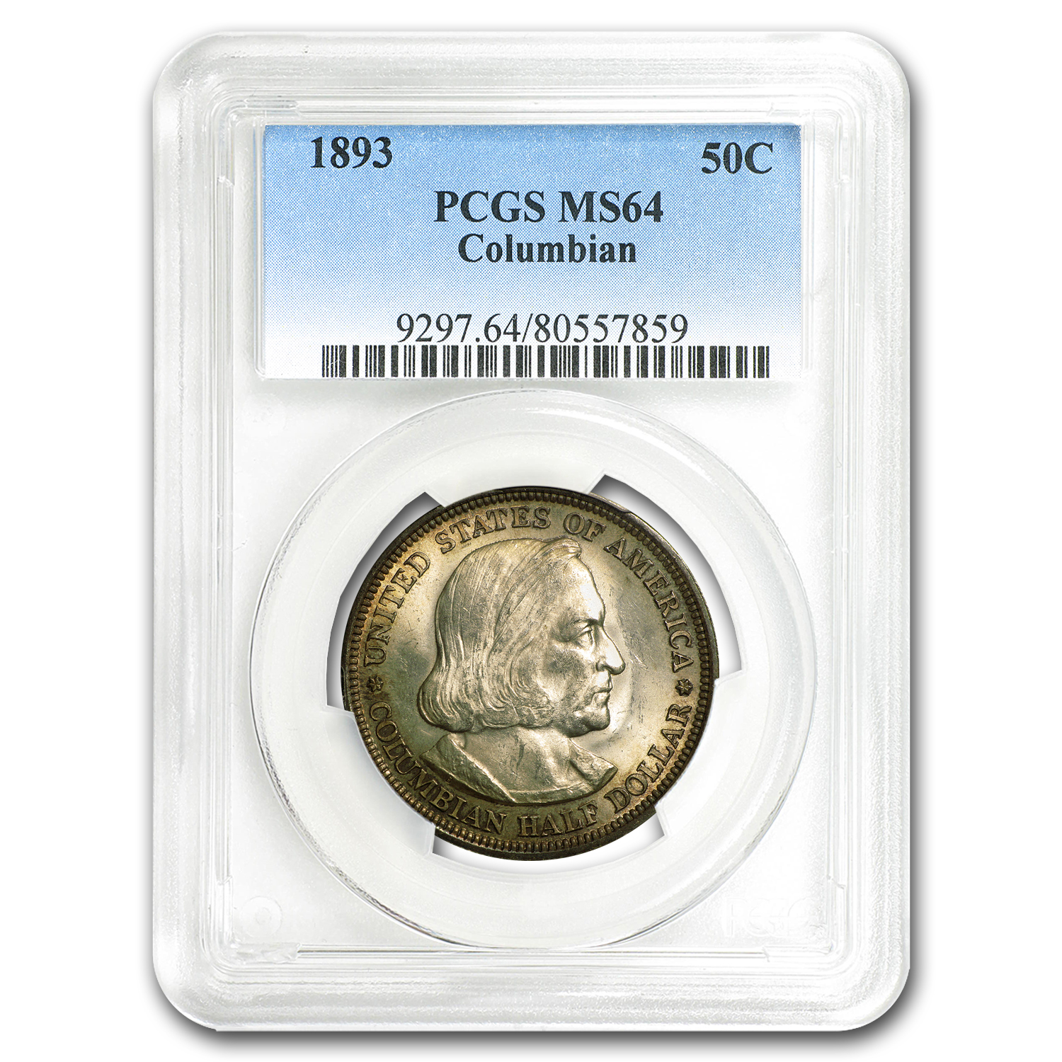 1893 Columbian Expo Half Dollar Expo MS-64 PCGS (Lightly Toned)