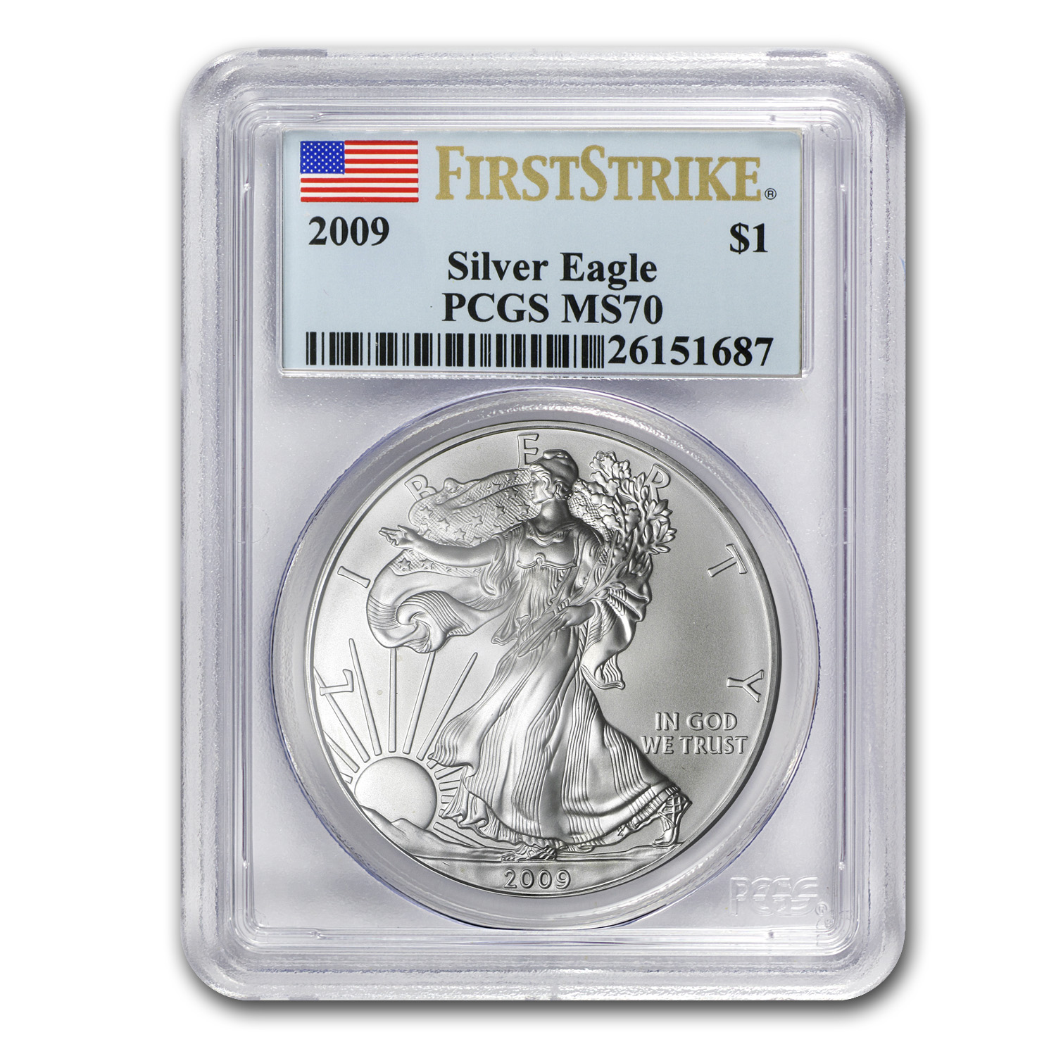 2009 Silver American Eagle MS-70 PCGS (First Strike)