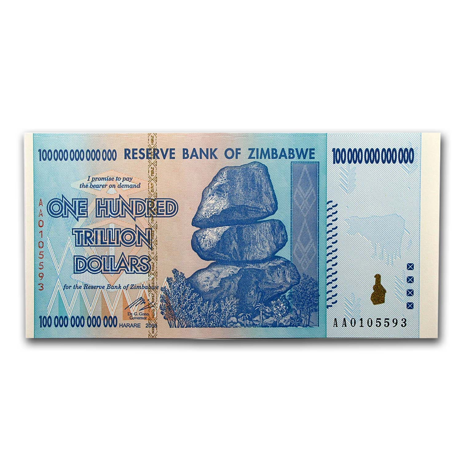 Zimbabwe 2008 100 Trillion Dollars Unc Waterfall Buffalo