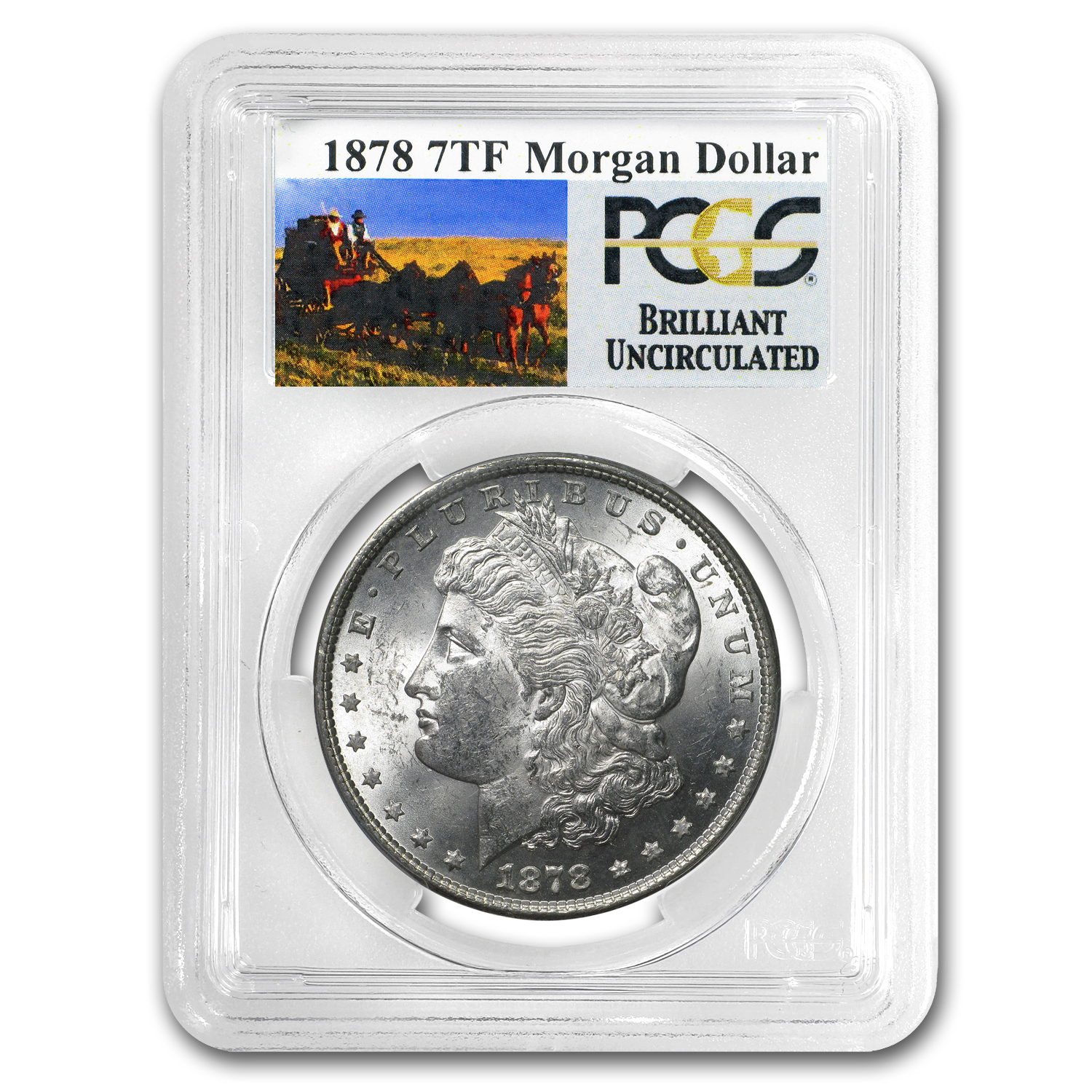 1878 7 TF Rev of 79 Stage Coach Silver Dollar BU PCGS