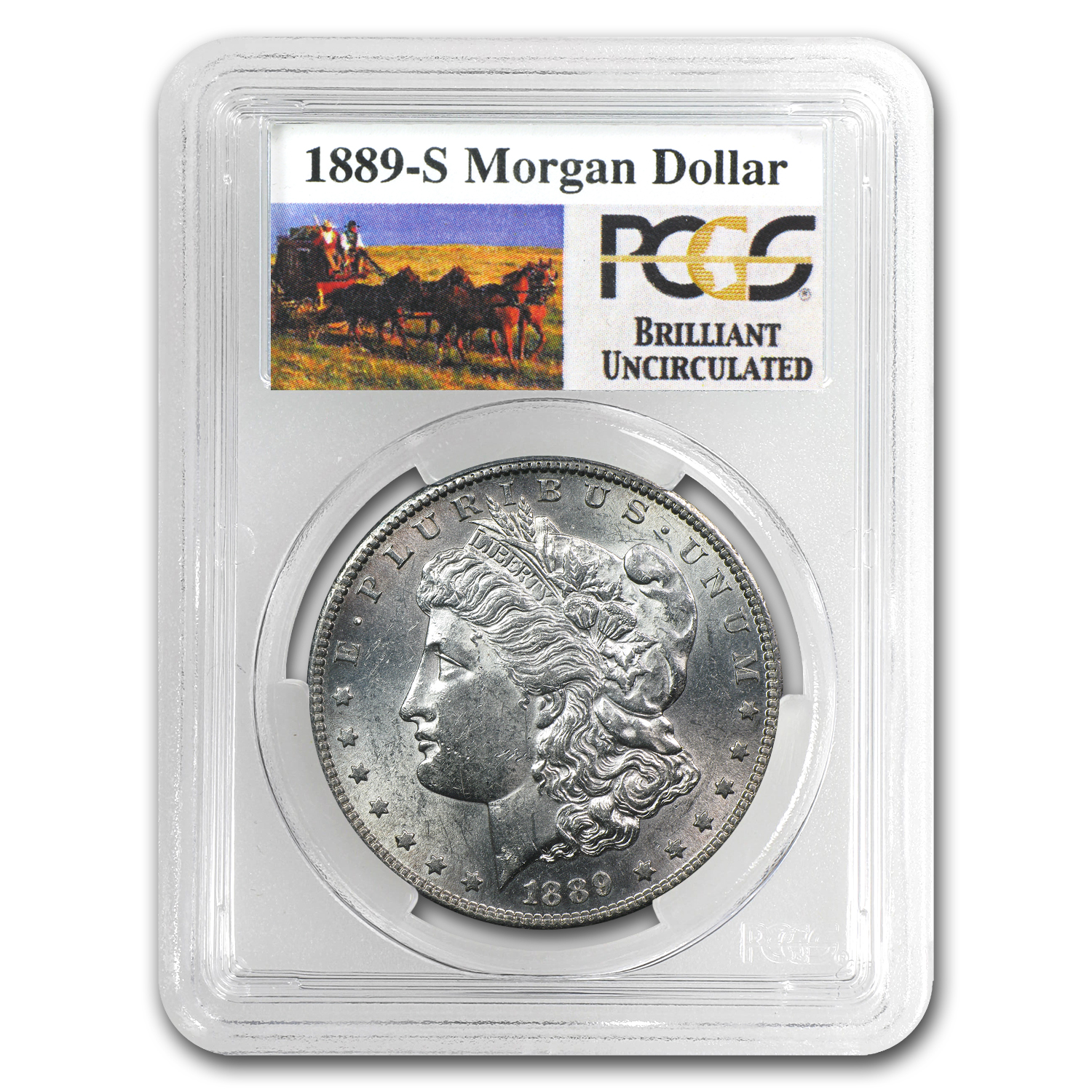 1889-S Brilliant Uncirculated PCGS Stage Coach Silver Dollars
