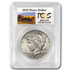 1935 Brilliant Uncirculated PCGS Stage Coach Silver Dollars