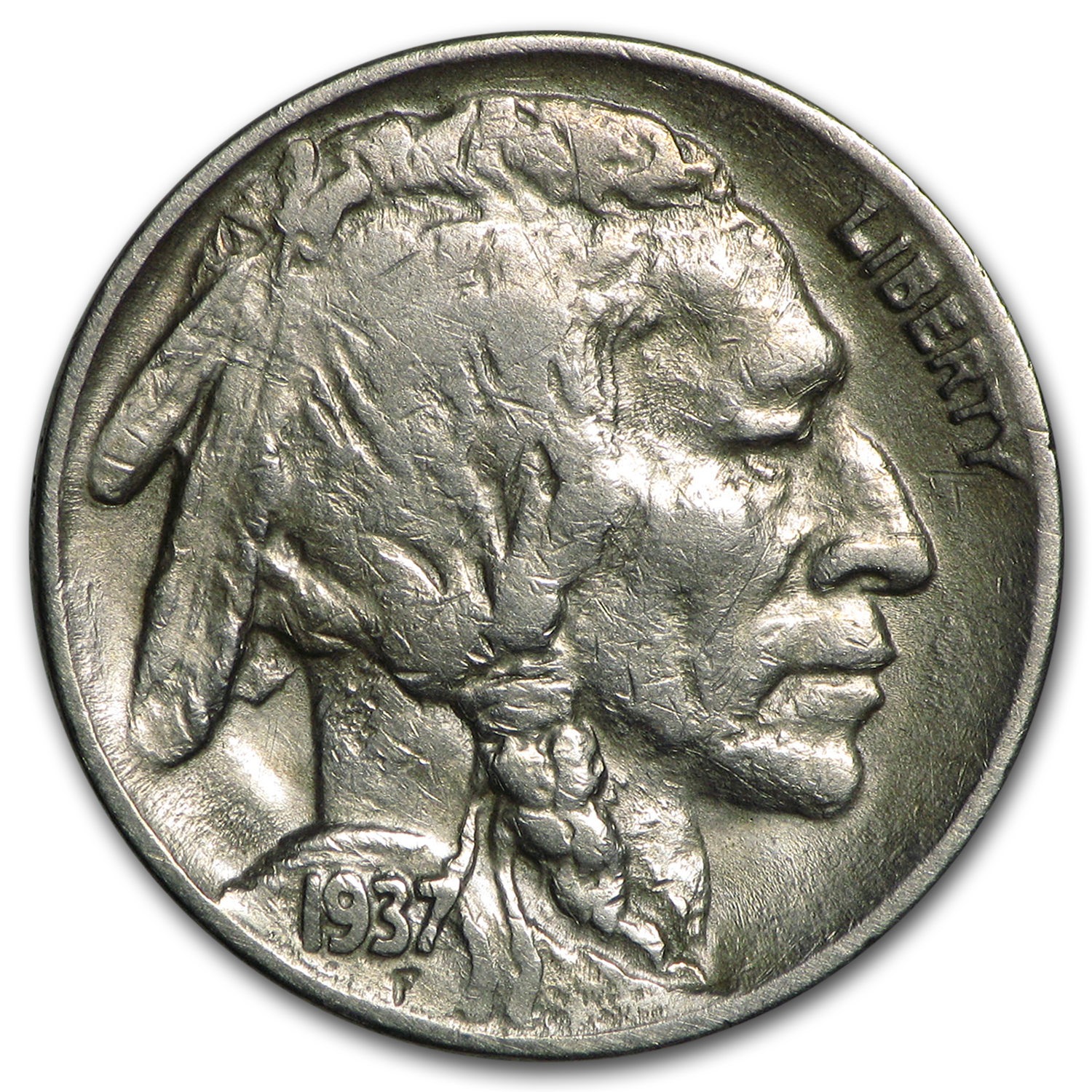1937 D 3 Legged Buffalo Nickel Vf Details Buffalo