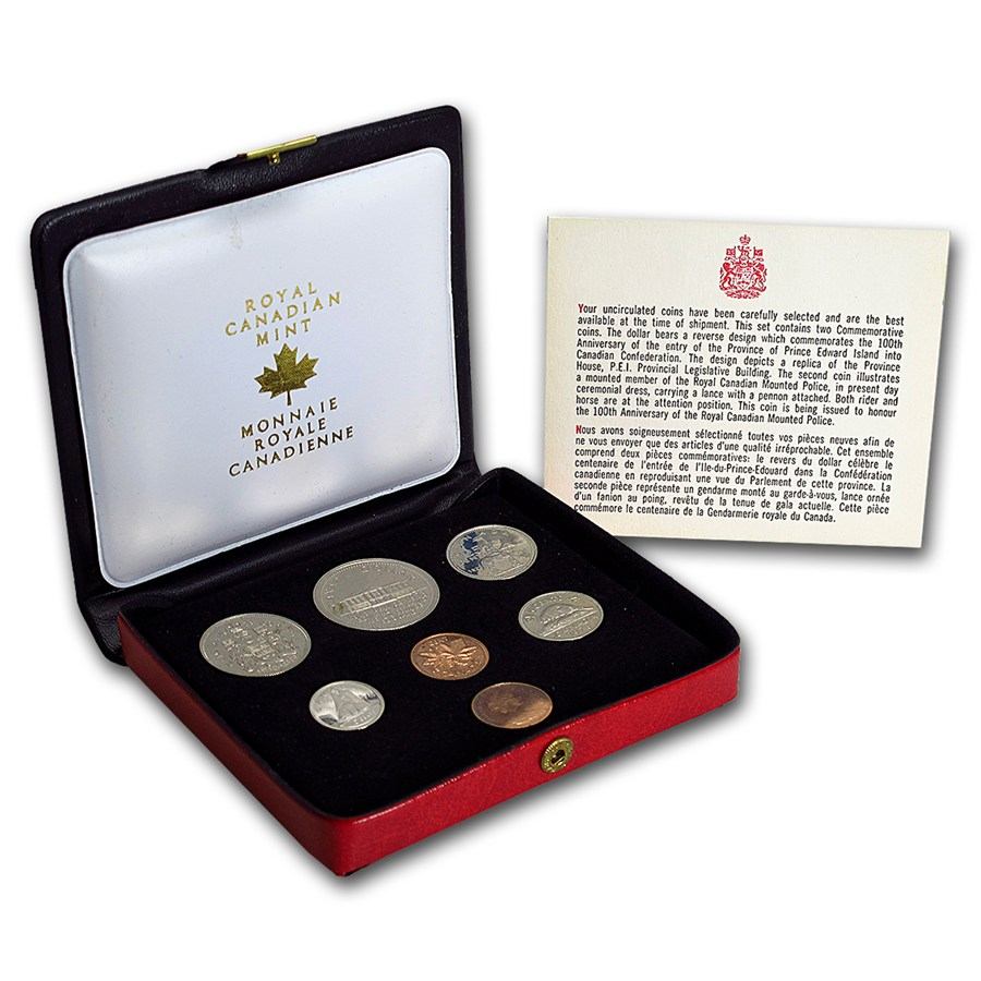 Canada 1973 7 Coin Nickel Custom Set Red Case Canadian