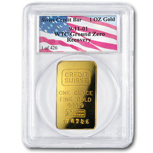 1 oz Gold Bar - Credit Suisse (PCGS/World Trade Center)