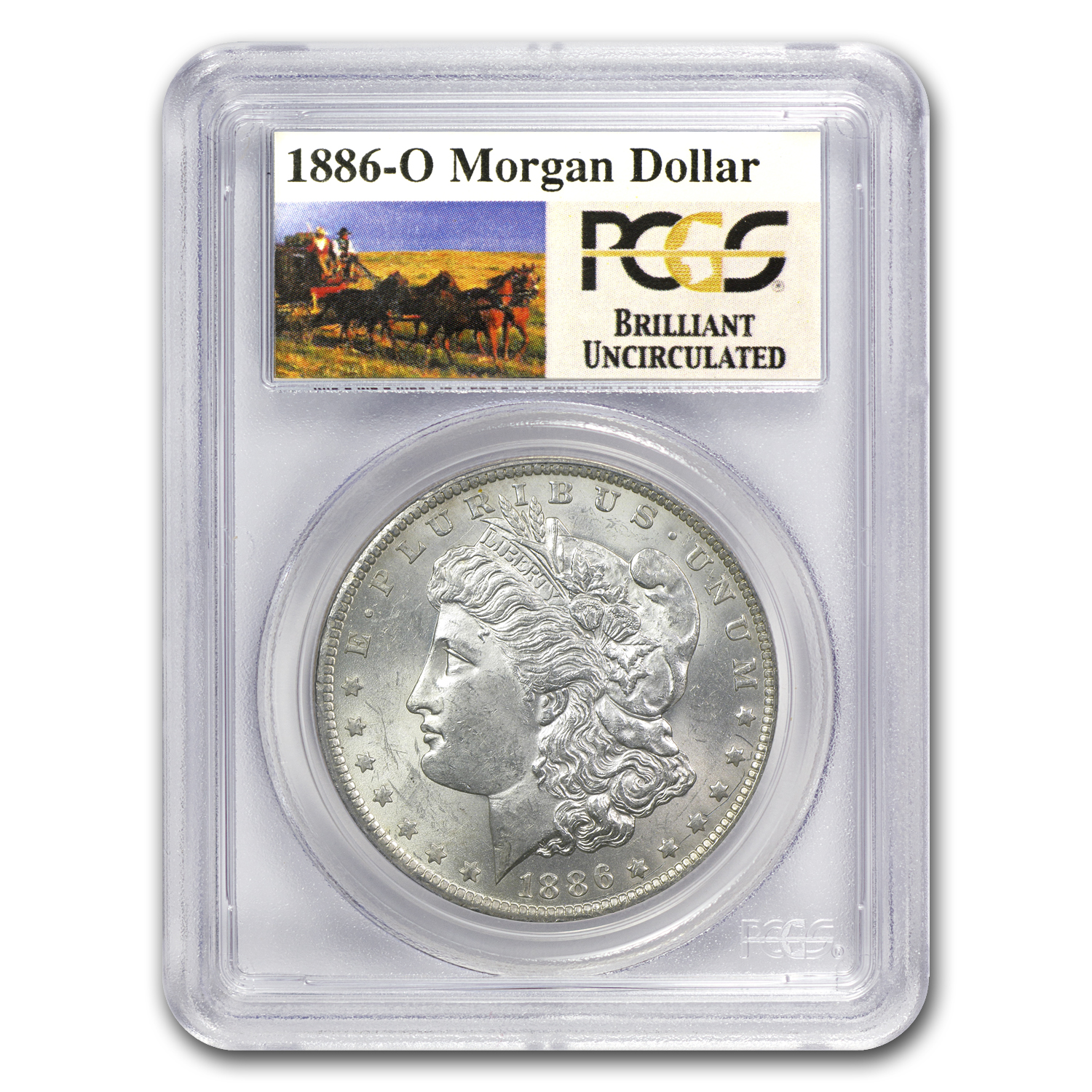 1886-O Brilliant Uncirculated PCGS Stage Coach Silver Dollars