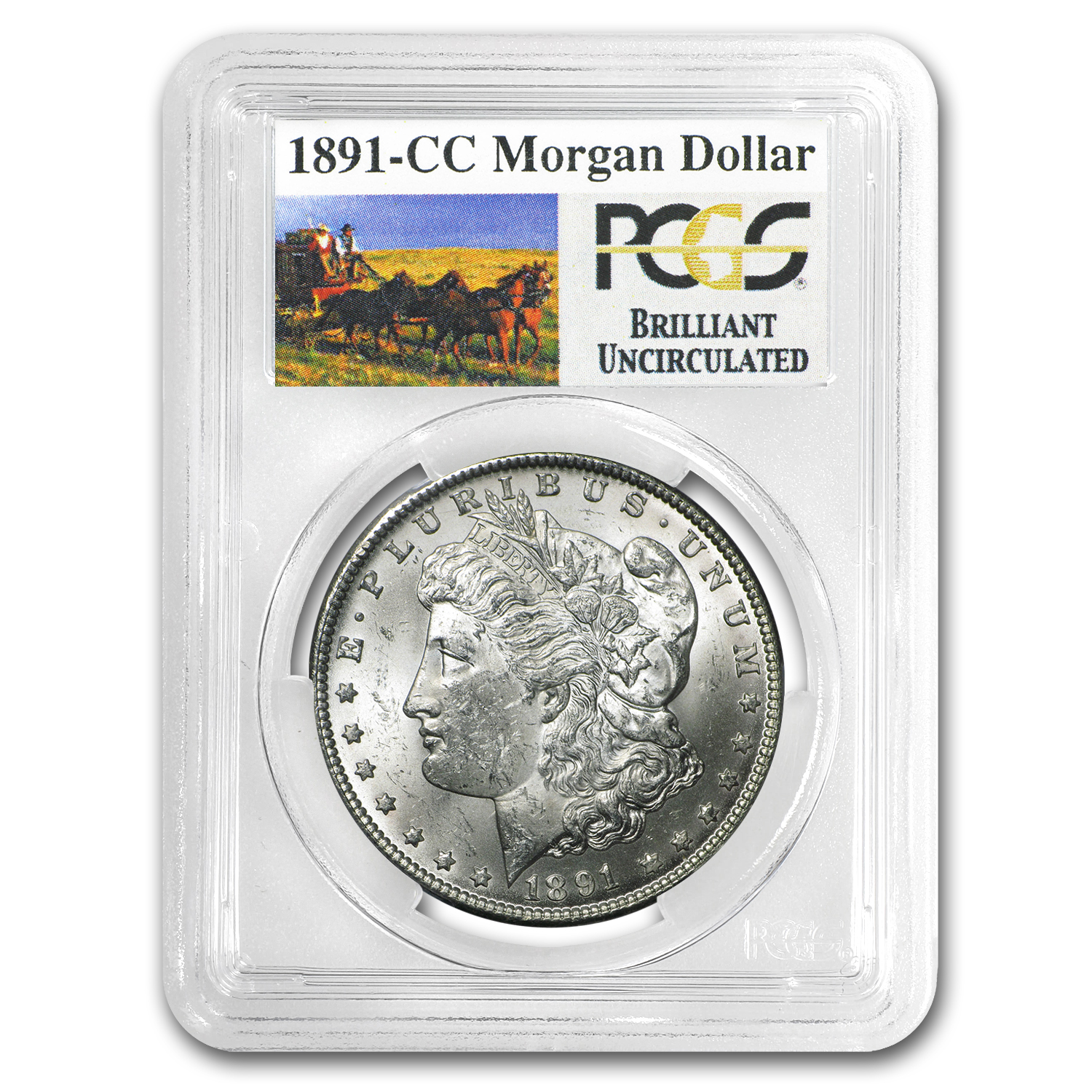 1891-CC Brilliant Uncirculated PCGS Stage Coach Silver Dollars