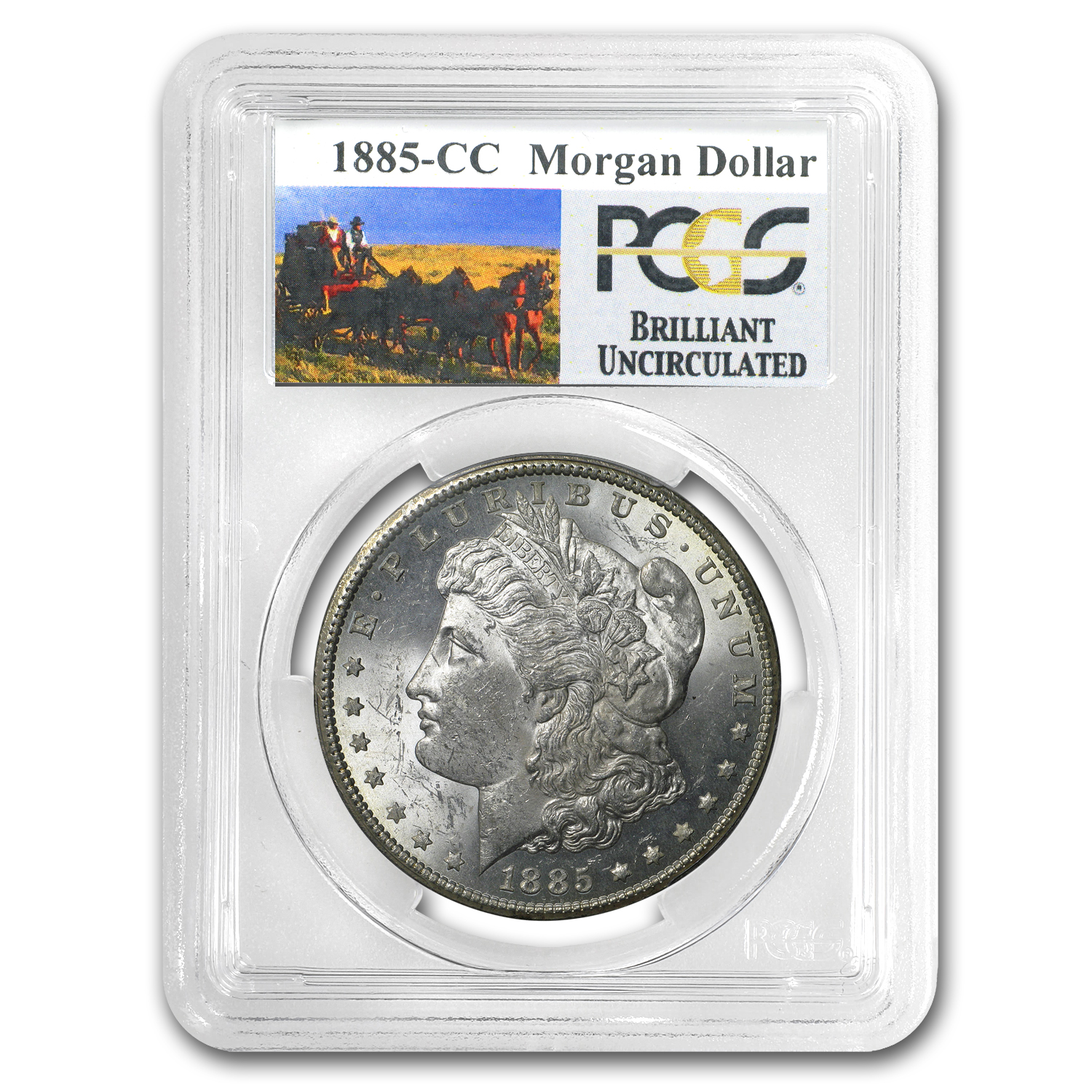 1885-CC Brilliant Uncirculated PCGS Stage Coach Silver Dollars