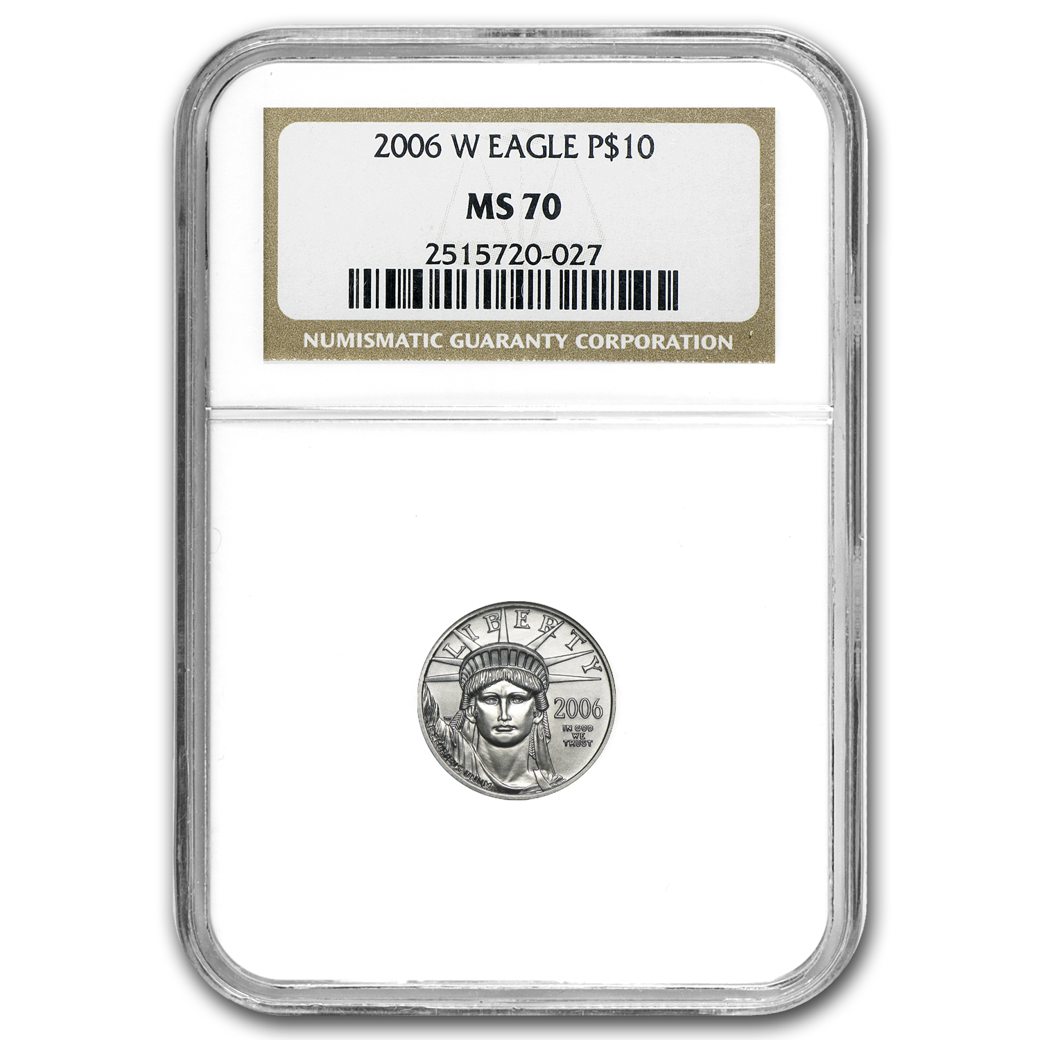 2006-W 1/10 oz Burnished Platinum American Eagle MS-70 NGC