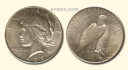 1935 Peace Dollar - Almost Uncirculated-58