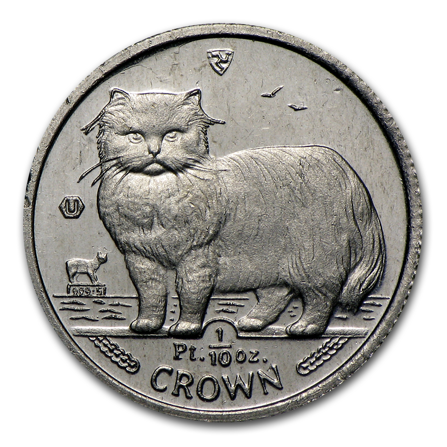 Isle of Man 1/10 oz Platinum Persian Cat (Scruffy)