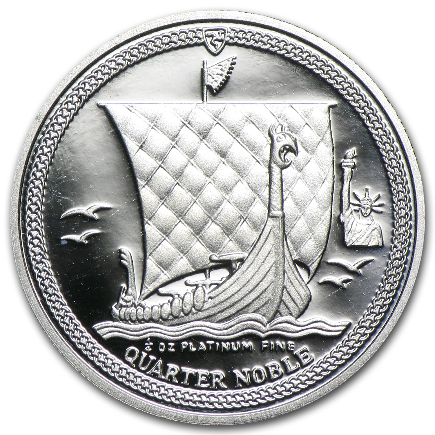 1987 Isle of Man 1/4 oz Prf Platinum Noble (Statue-Liberty Privy)