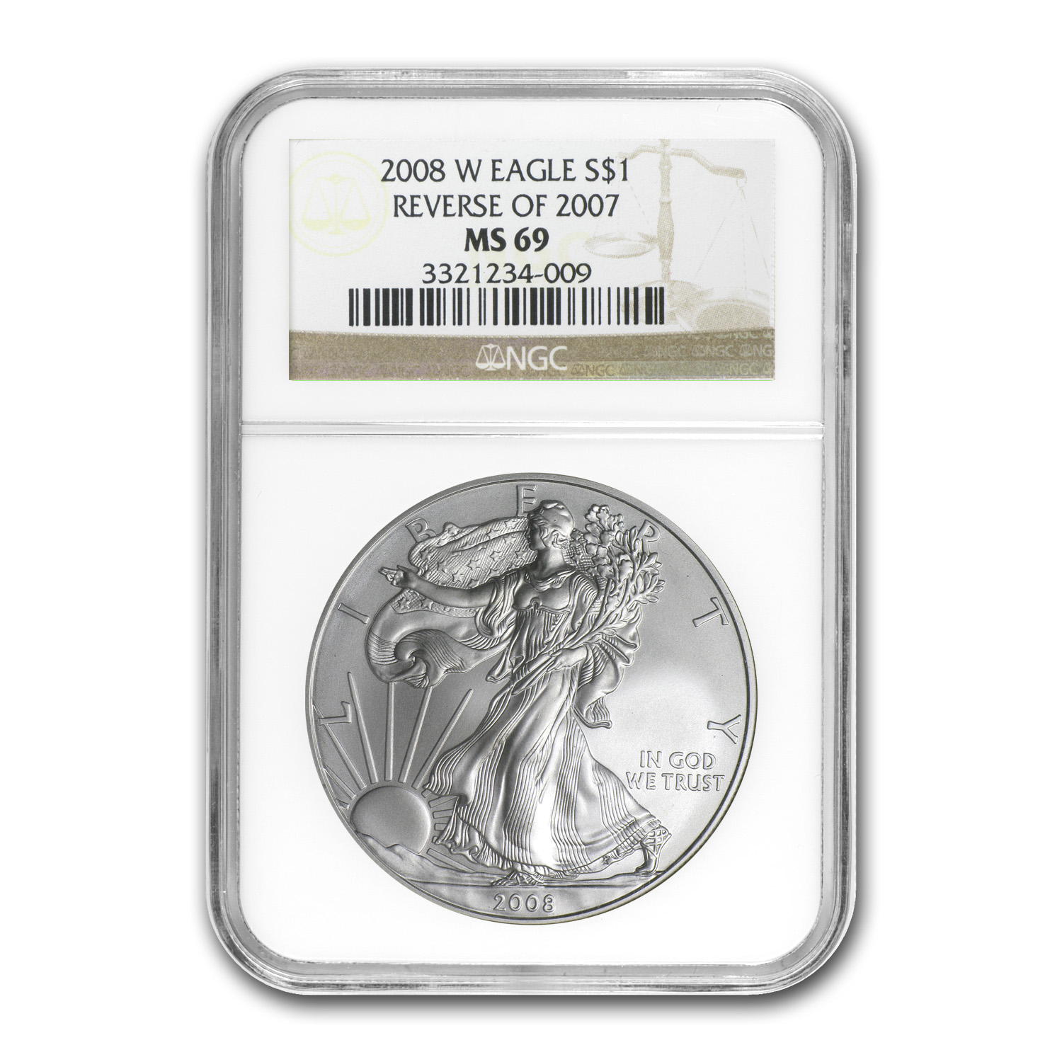 2008-W Burnished Silver American Eagle MS-69 NGC (Rev '07)