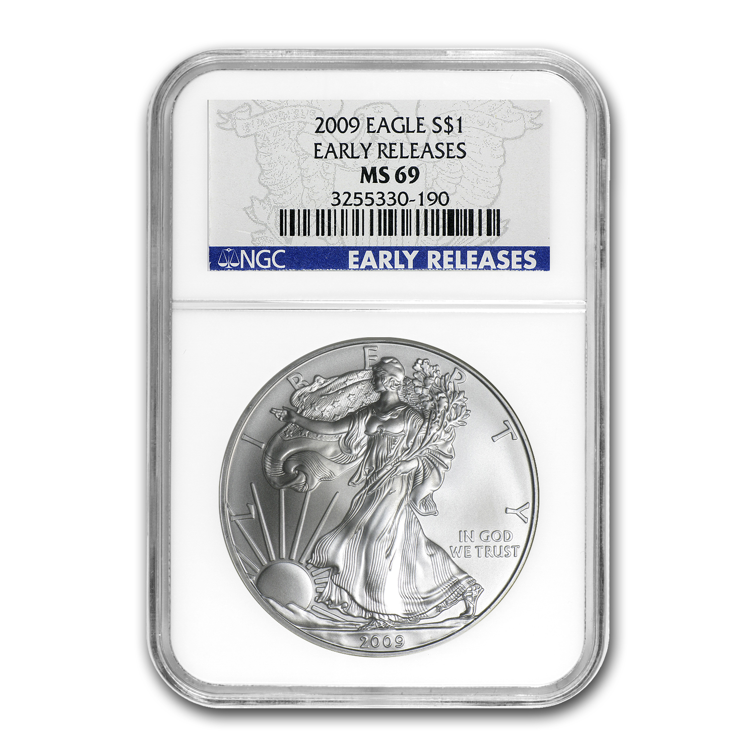 2009 Silver American Eagle - MS-69 NGC - Blue Label/Early Release