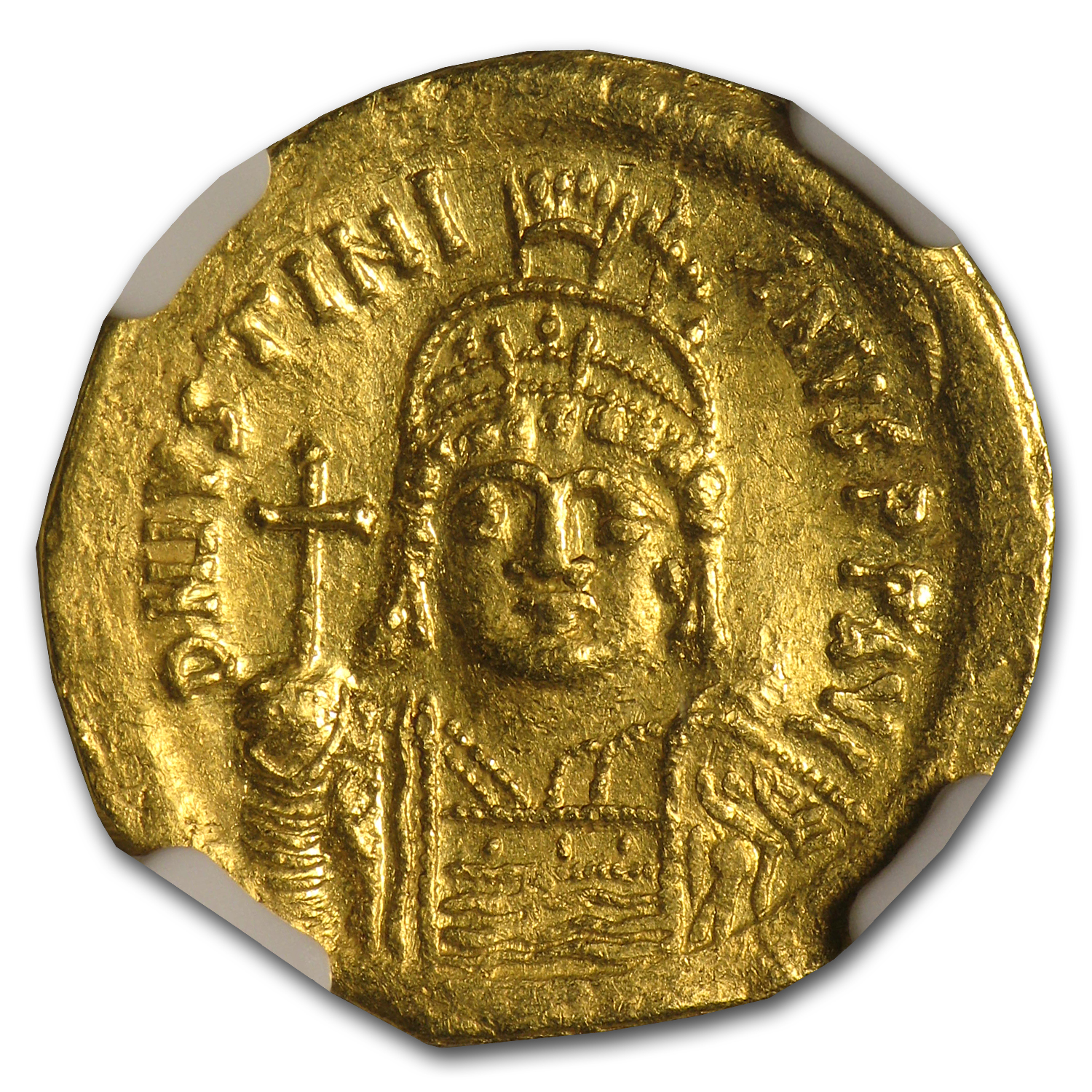 Byzantine Gold Solidus Emperor Justinian I Ch AU NGC (527-565 AD)
