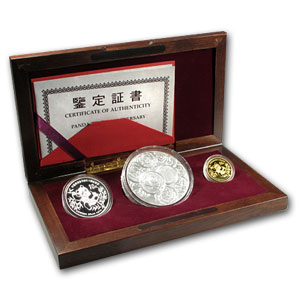 1991 3-Coin Chinese Panda Commem Set (10th Anniv)