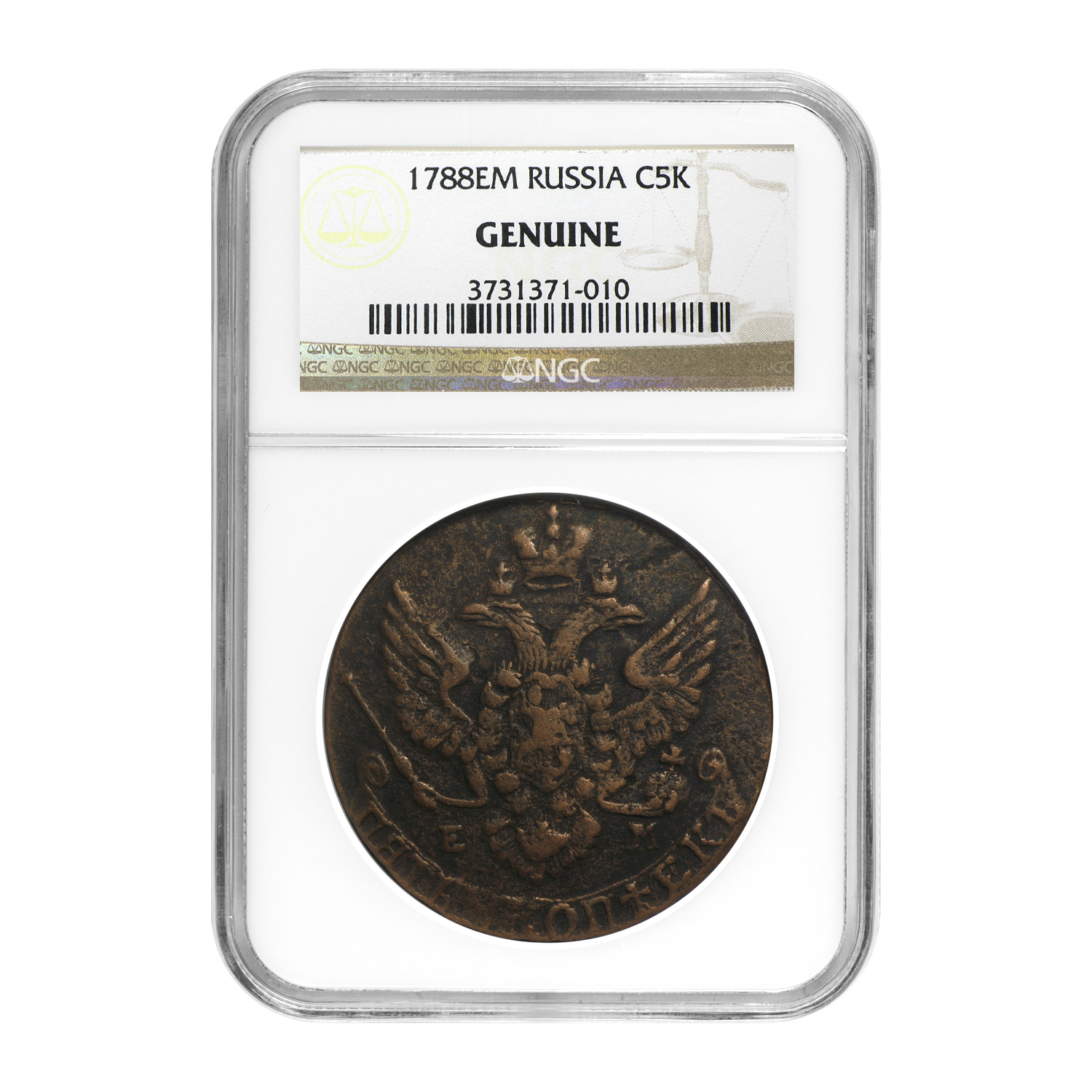 Russia 5 Kopeks Catherine the Great Genuine NGC