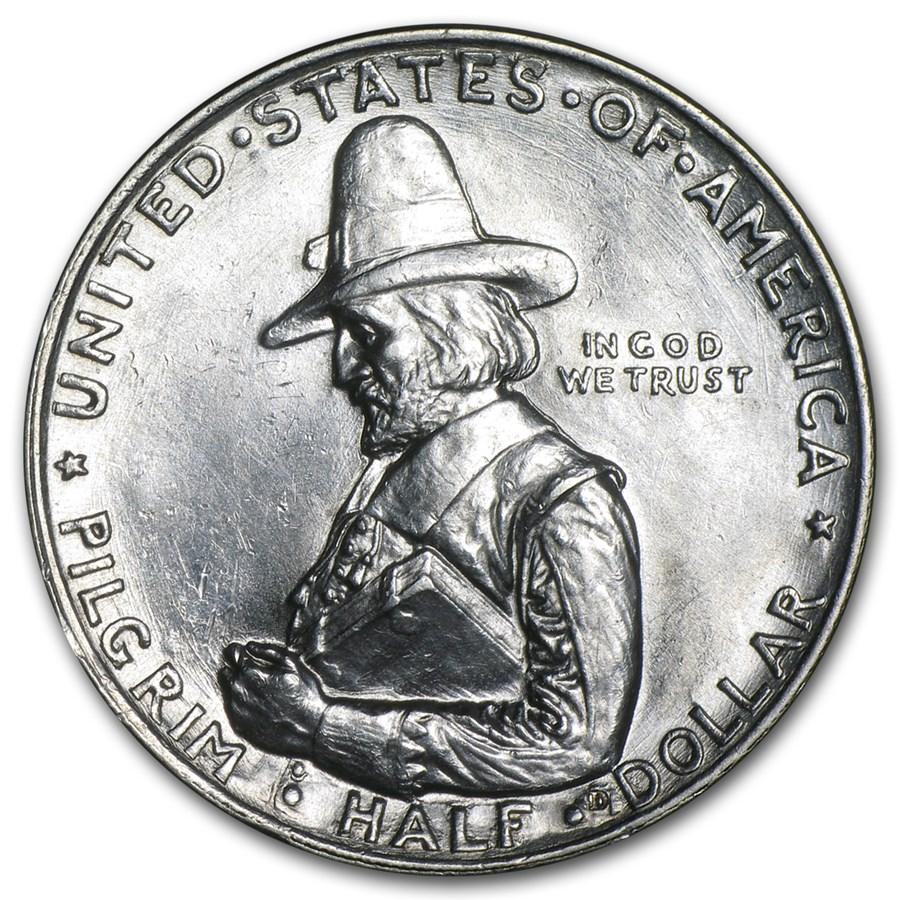 1920 Pilgrim Tercentenary Half Dollar Bu Value Of Silver