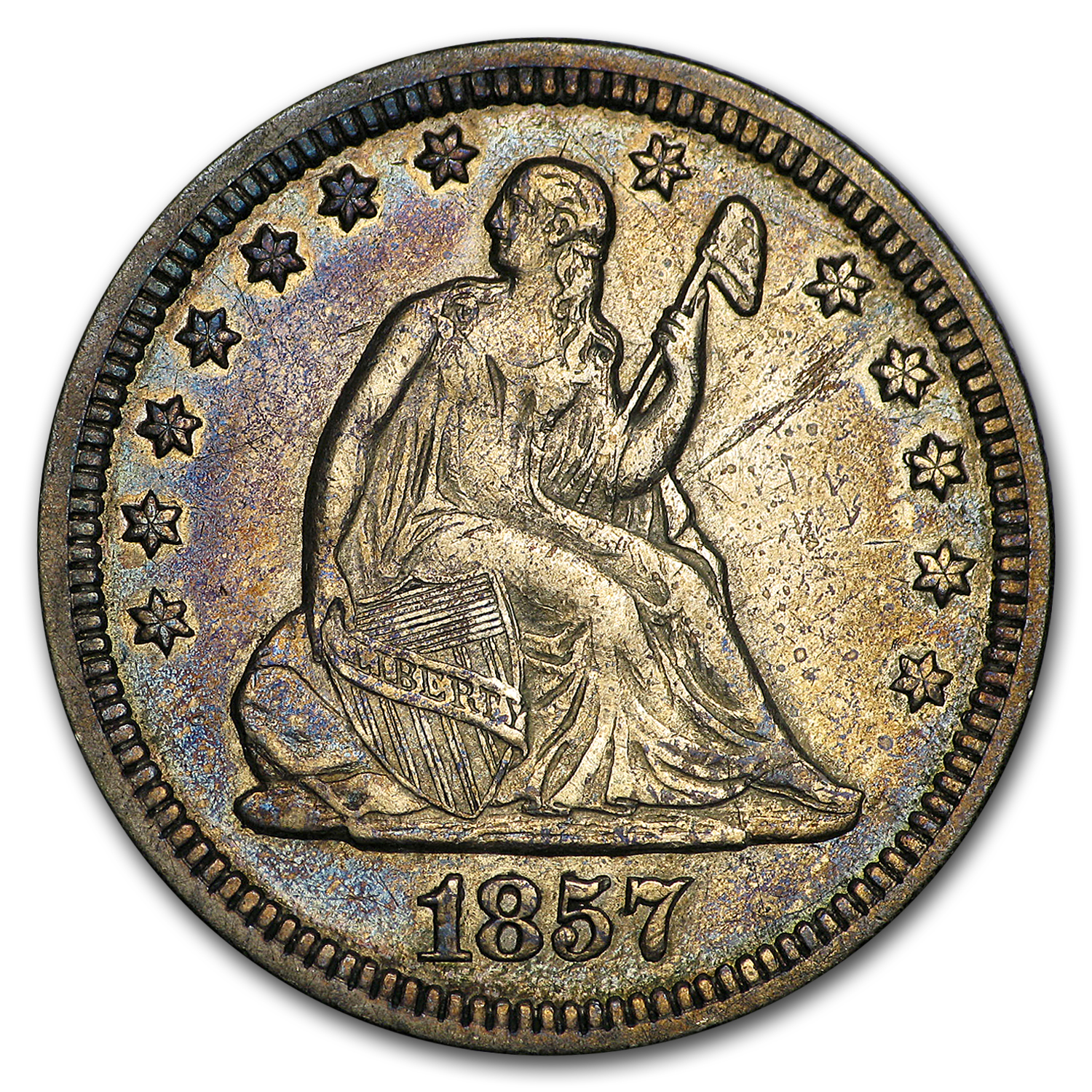 1857 Liberty Seated Quarter XF