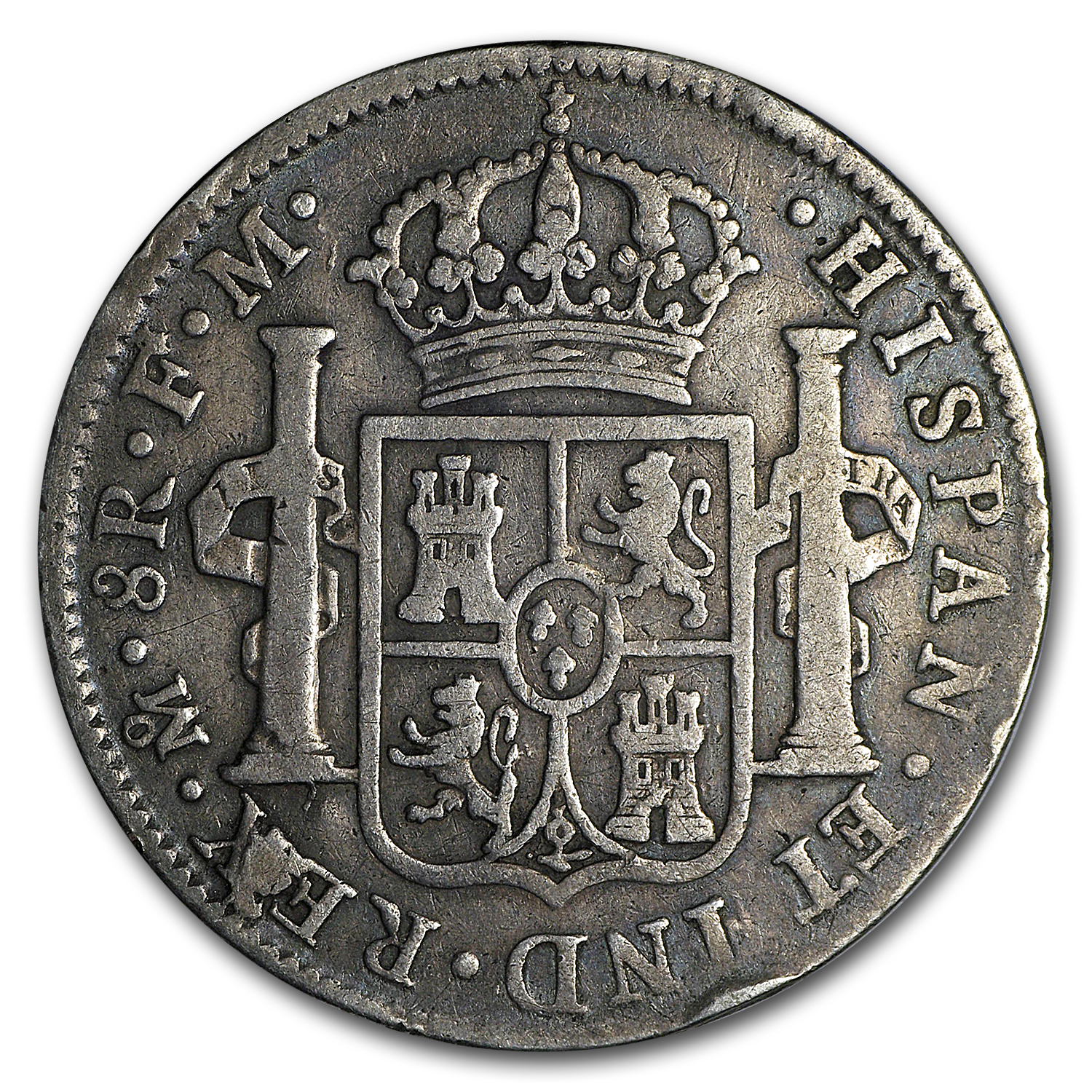 Mexico Silver 8 Reales Portrait & Pillars Avg Circ